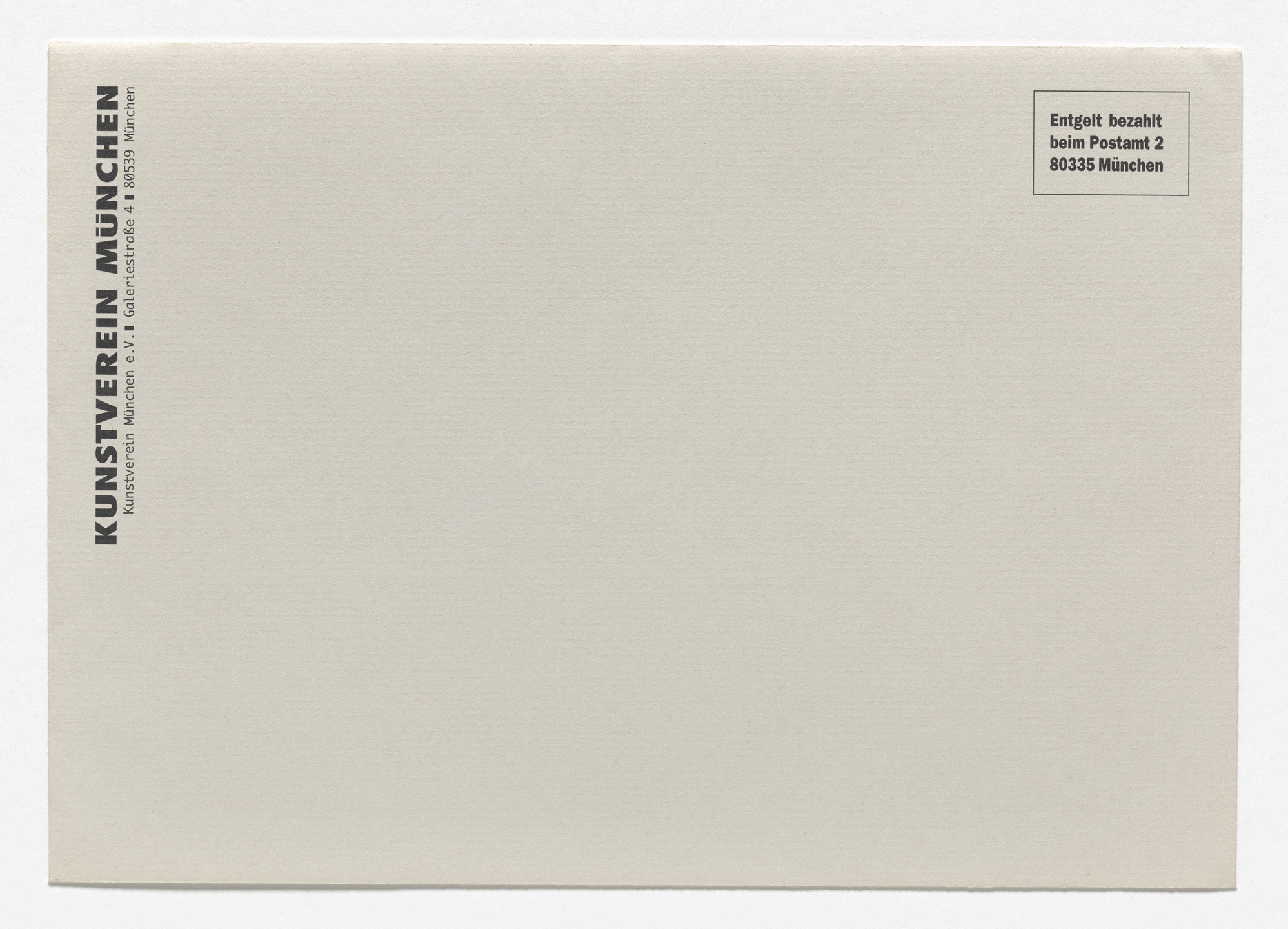 Louise Lawler. Announcement card for A Spot on the Wall, Kunstverein, Munich, March 16–April 23, 1995. 1995