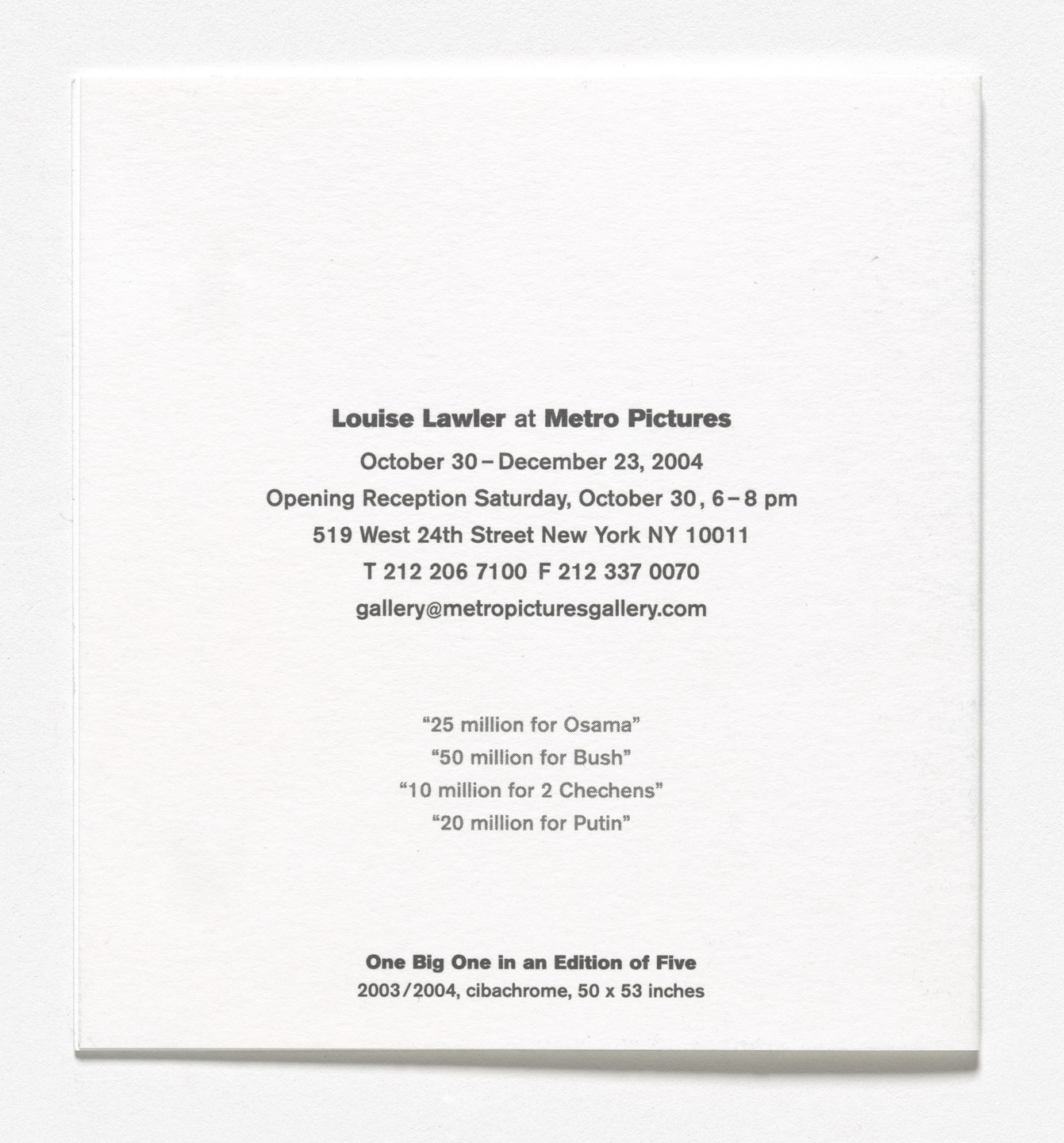 Louise Lawler. Announcement card for Looking Forward, Metro Pictures, New York, October 30–December 23, 2004. 2004