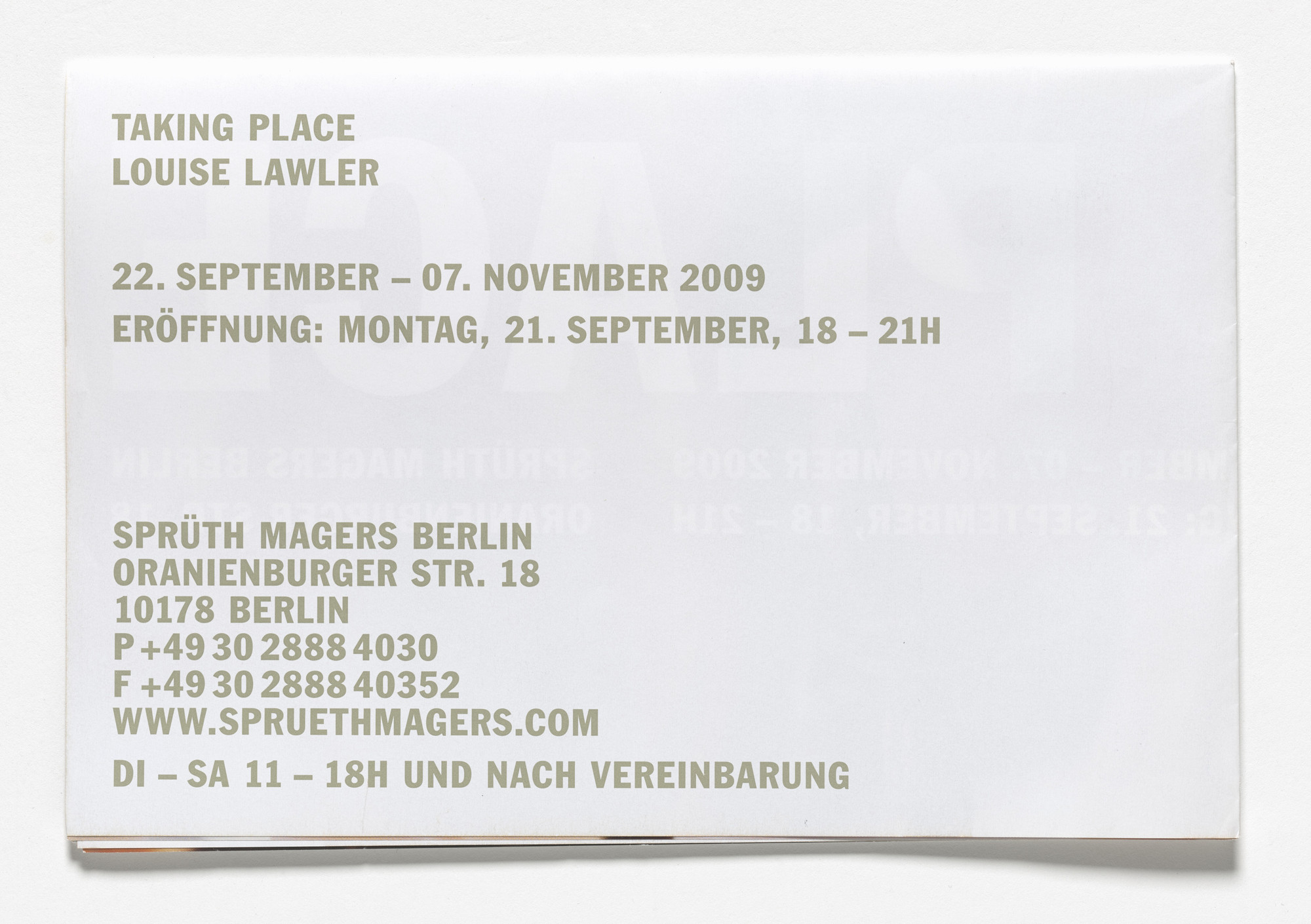 Louise Lawler. Poster for Taking Place, Sprüth Magers, Berlin, September 22–November 7, 2009. 2009