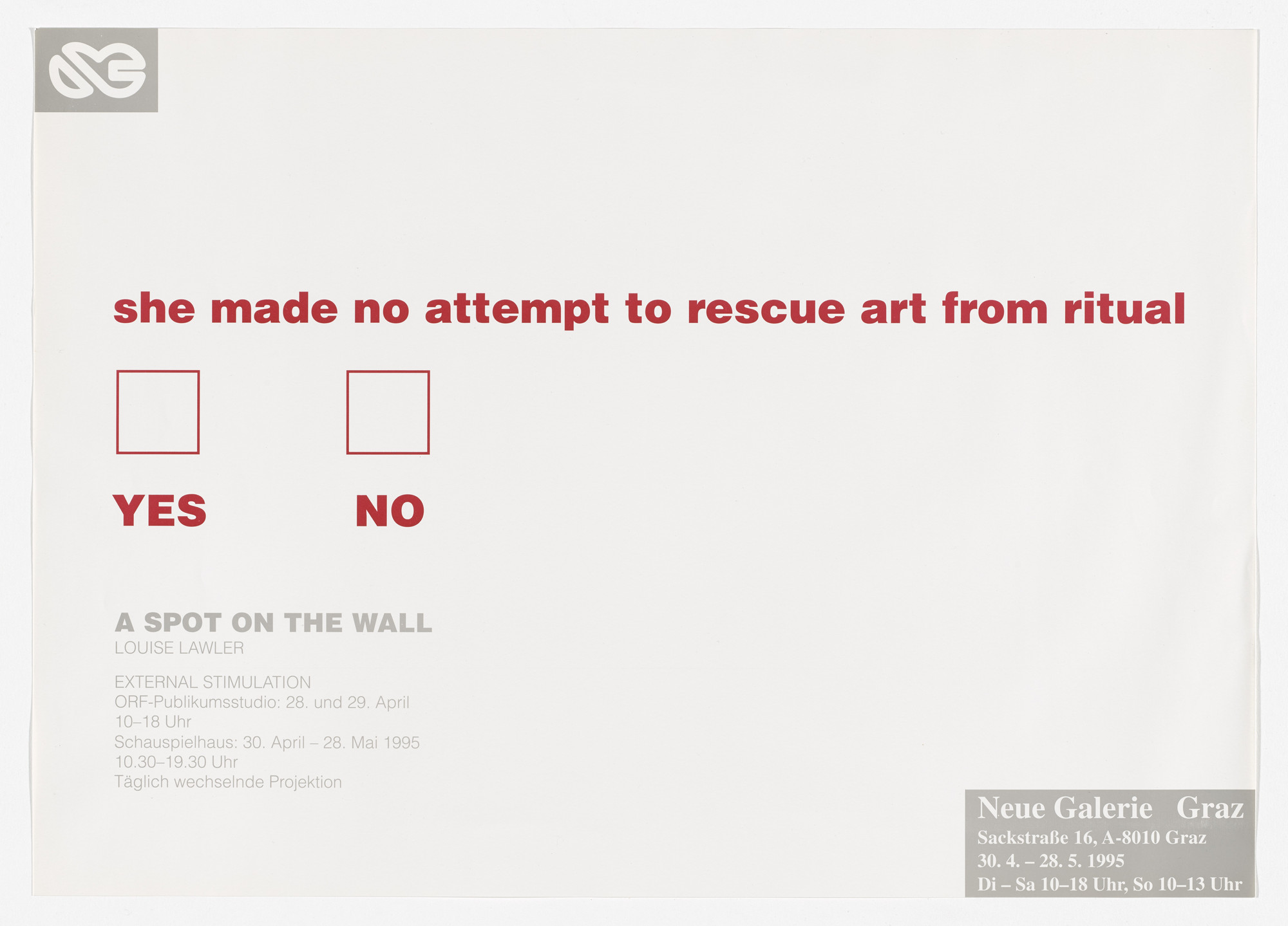 Louise Lawler. Poster for A Spot on the Wall, Neue Galerie, Graz, Austria, April 30–May 28, 1995. 1995