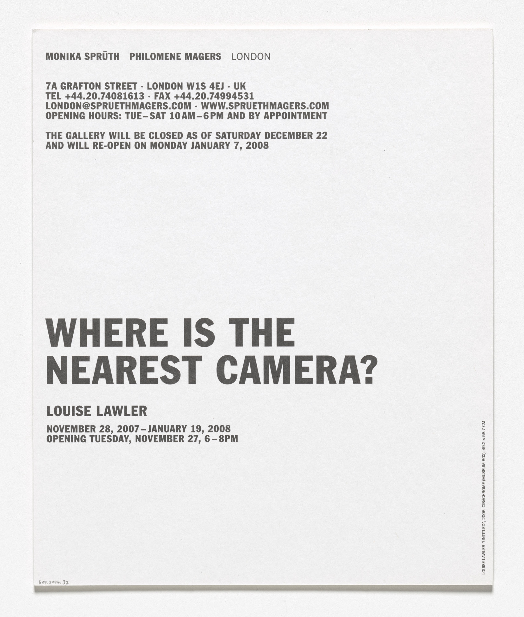 Louise Lawler. Announcement card for Where Is the Nearest Camera?, Sprüth Magers, London, November 28, 2007–January 19, 2008. 2007