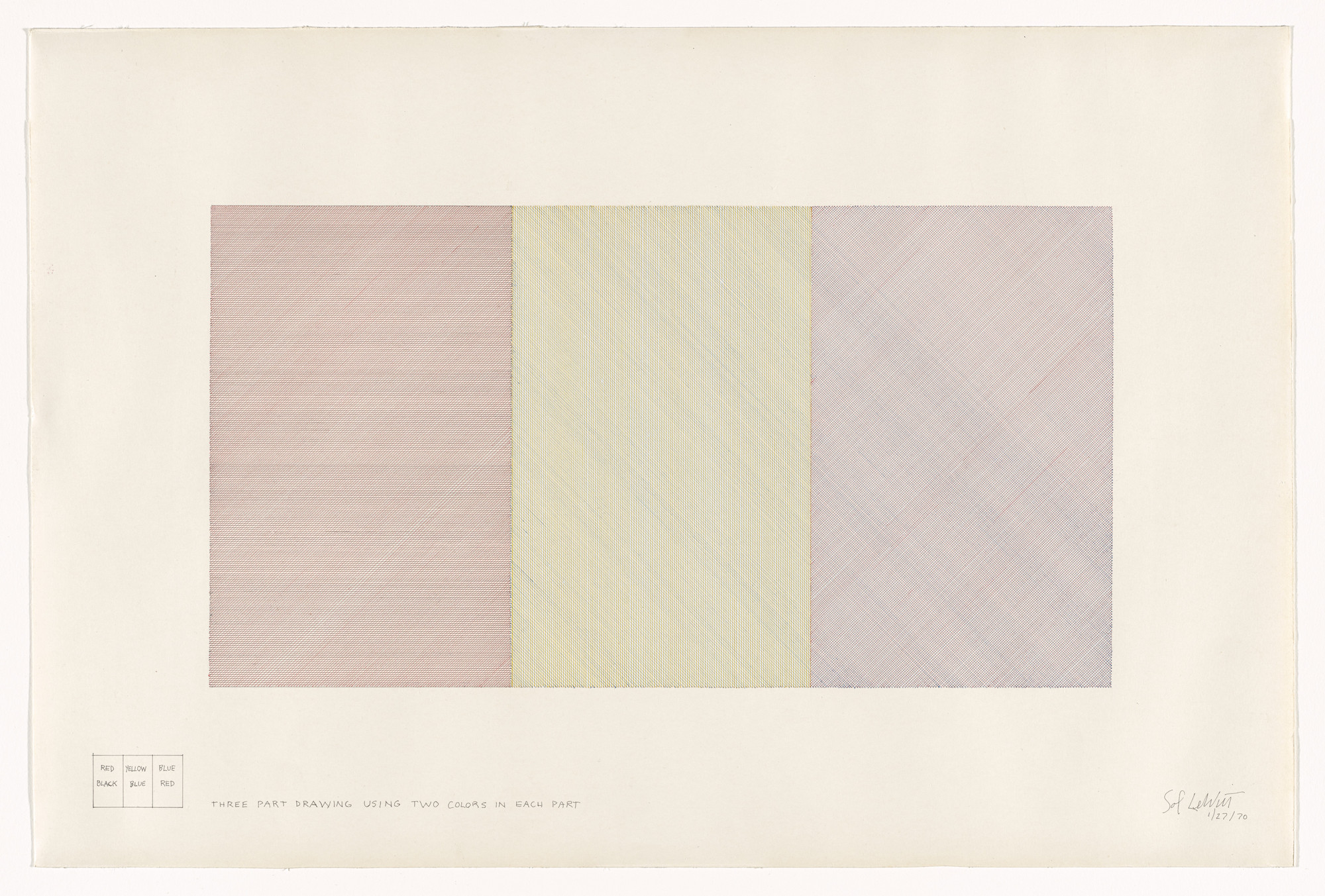 Sol LeWitt. Three Part Drawing Using Two Colors in Each Part. 1970