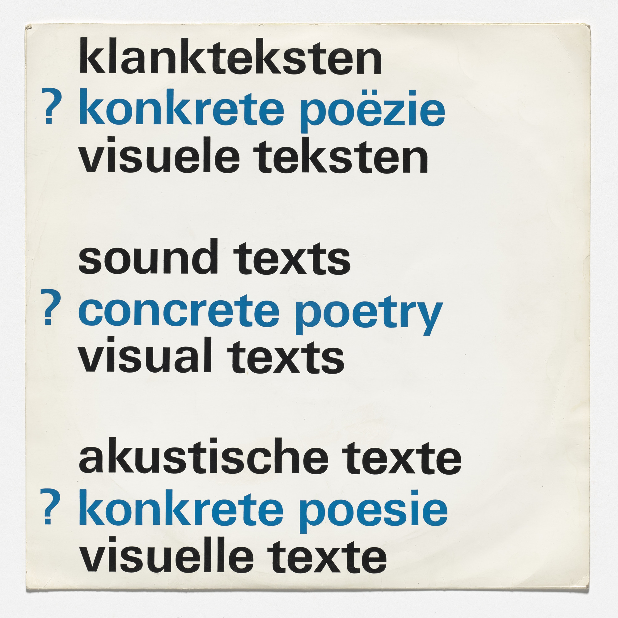 Various Artists. Sound texts, concrete poetry, visual texts. 1970