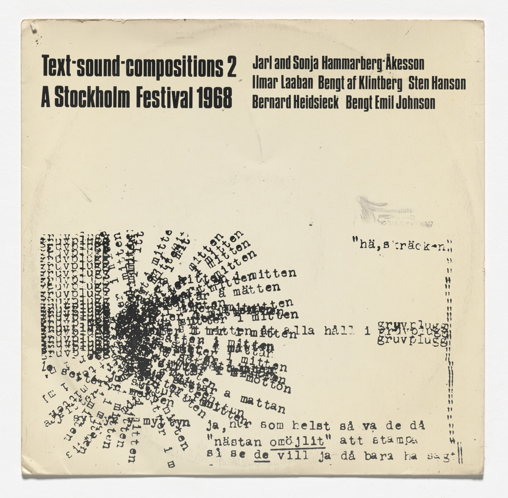 Various Artists. Text Sound Compositions 2: A Stockholm Festival 1968. 1969