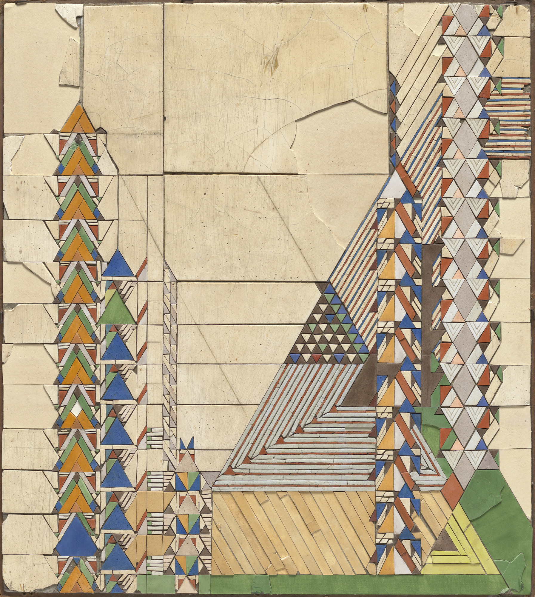 "Frank Lloyd Wright, Charles Morgan. ""Triangles in Color / September"" (Mosaic based on a c. 1926 design for Liberty magazine). c.1929"
