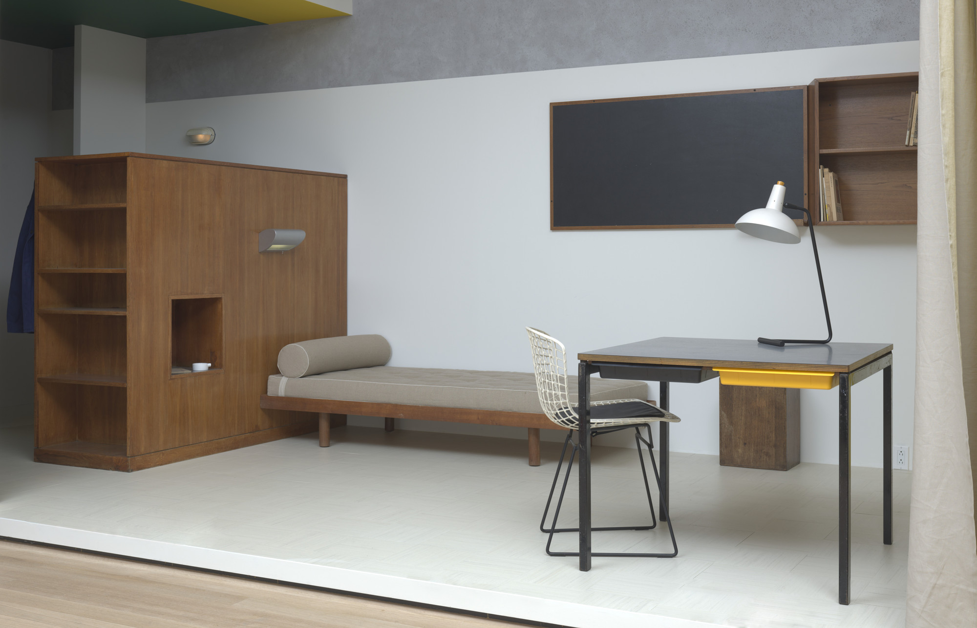 Charlotte Perriand, Le Corbusier (Charles-Édouard Jeanneret). Wall bookcase and blackboard from the Maison du Brésil. 1959