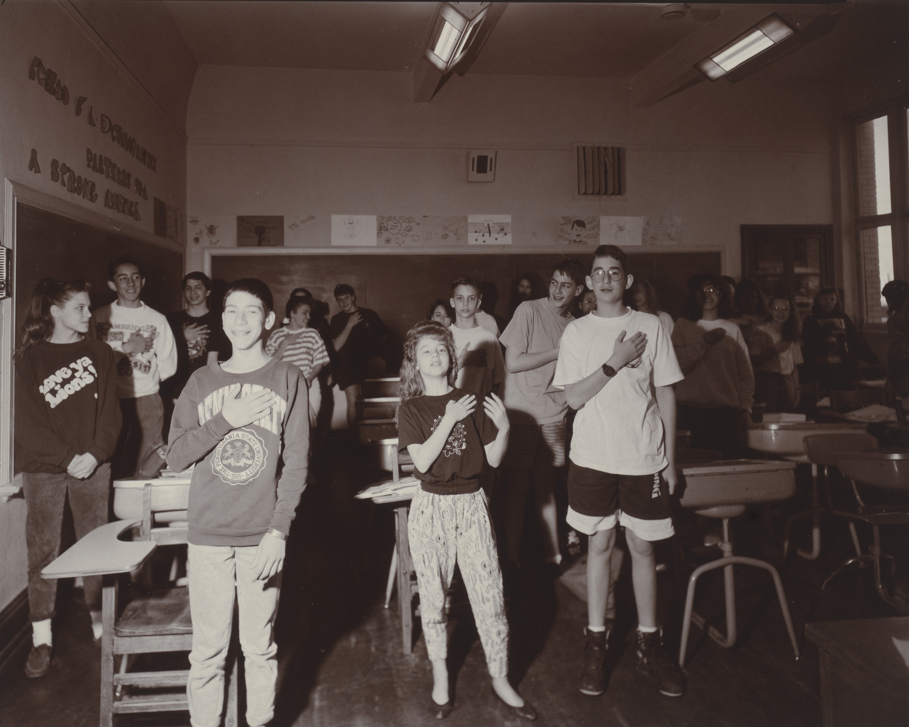 Judith Joy Ross. Pledging Allegiance, 8th Grade Homeroom, H.F. Grebey Junior High School, Hazelton, Pennsylvania. 1992