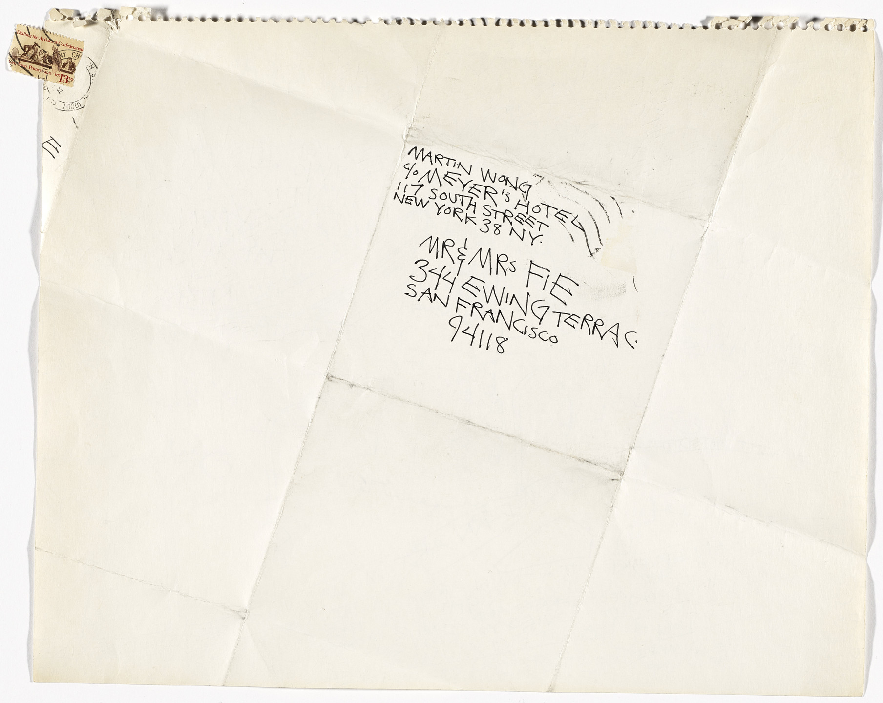 Martin Wong. First letter home from New York (also I joined The Museum of Modern Art). 1978