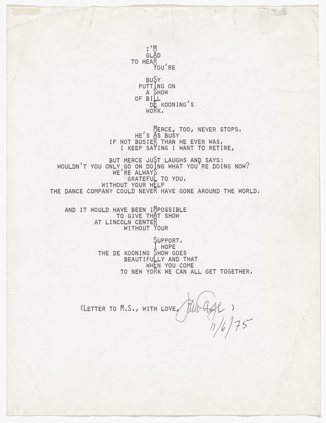 John Cage. Untitled (letter/drawing). 1975