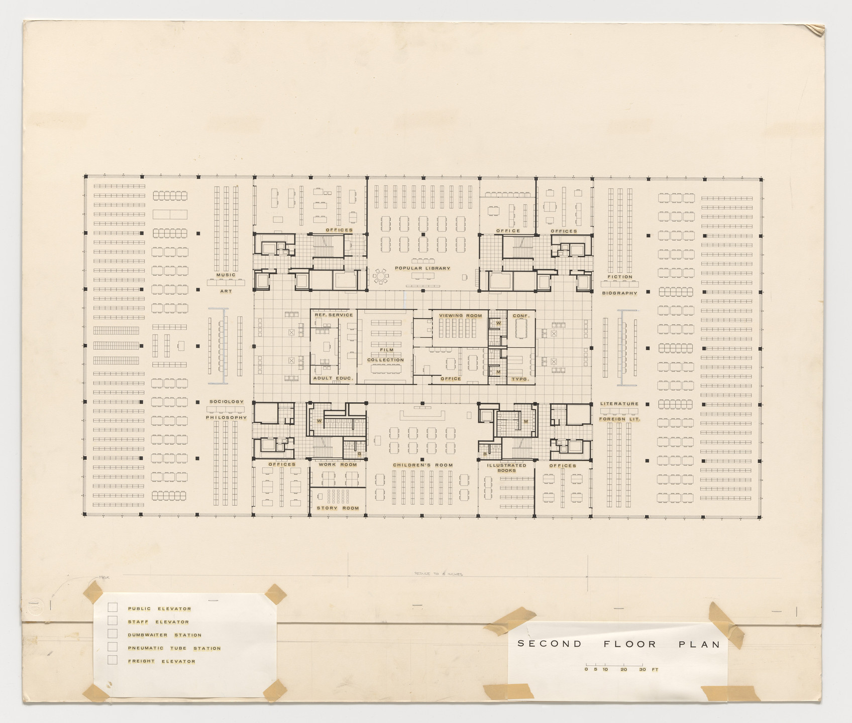 Ludwig Mies van der Rohe. Martin Luther King Jr. Memorial Library, Washington, D.C. (Second floor plan). 1965-1968