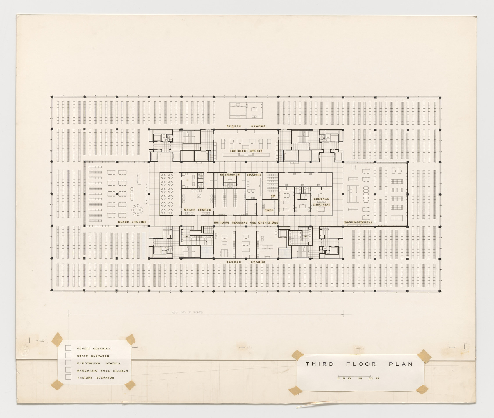 Ludwig Mies van der Rohe. Martin Luther King Jr. Memorial Library, Washington, D.C. (Third floor plan). 1965–1968