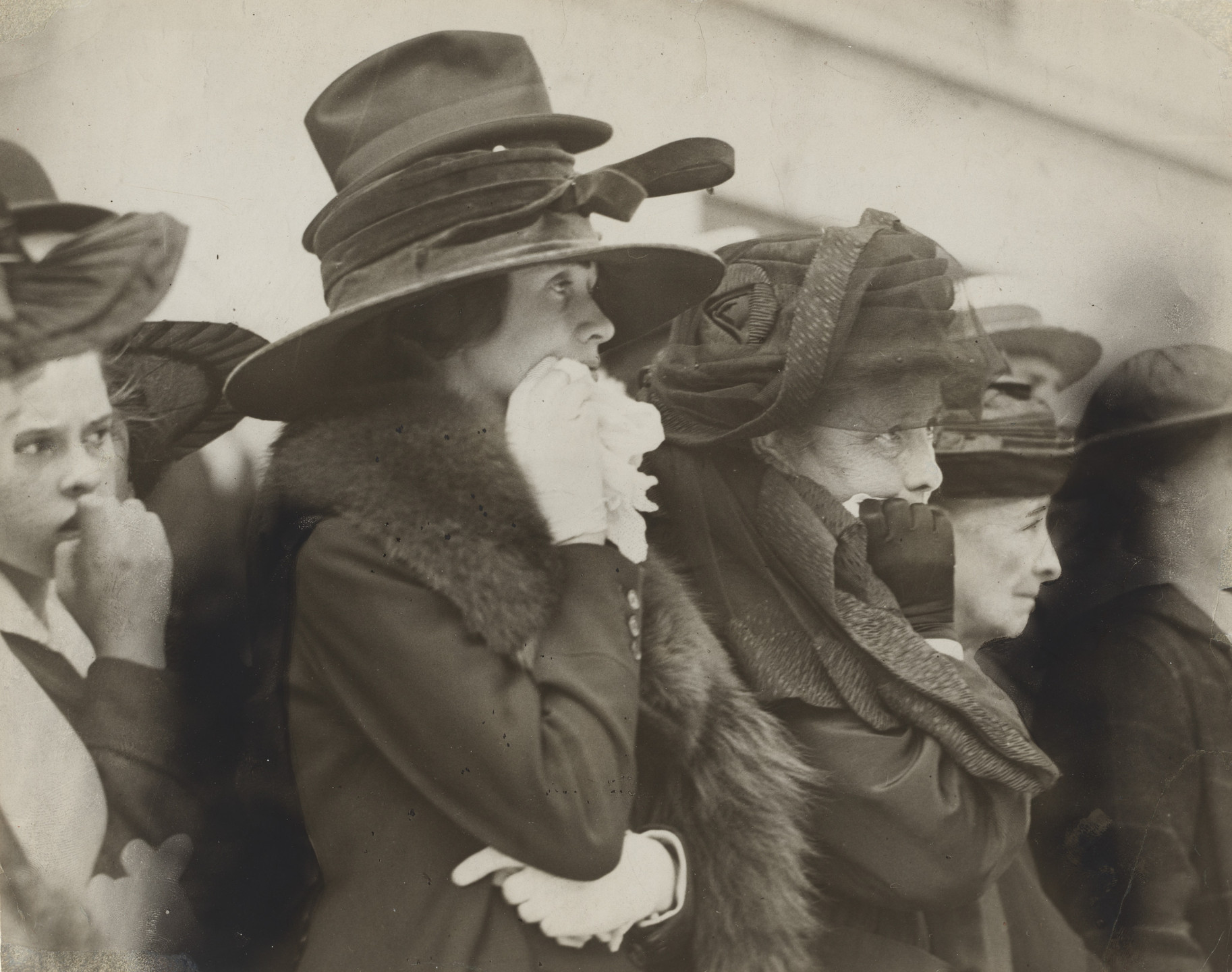 Underwood and Underwood. Mother, Wife, and Sweetheart Watching Boys of the Seventh Regimen as They Marched Away to War. 1917