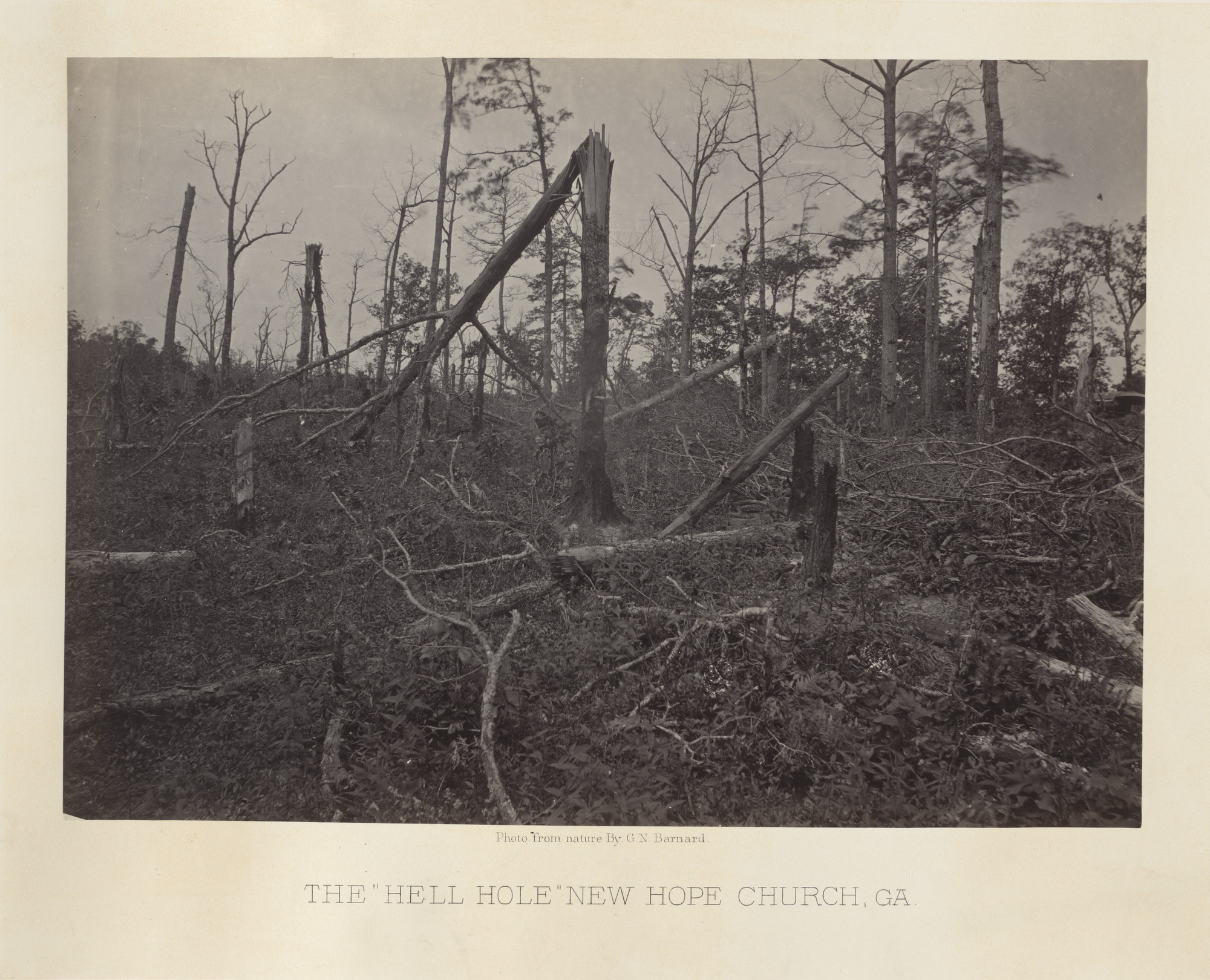 "George Barnard. The ""Hell Hole,"" New Hope Church, Georiga from the album Photographic Views of Sherman's Campaign. 1864-65"