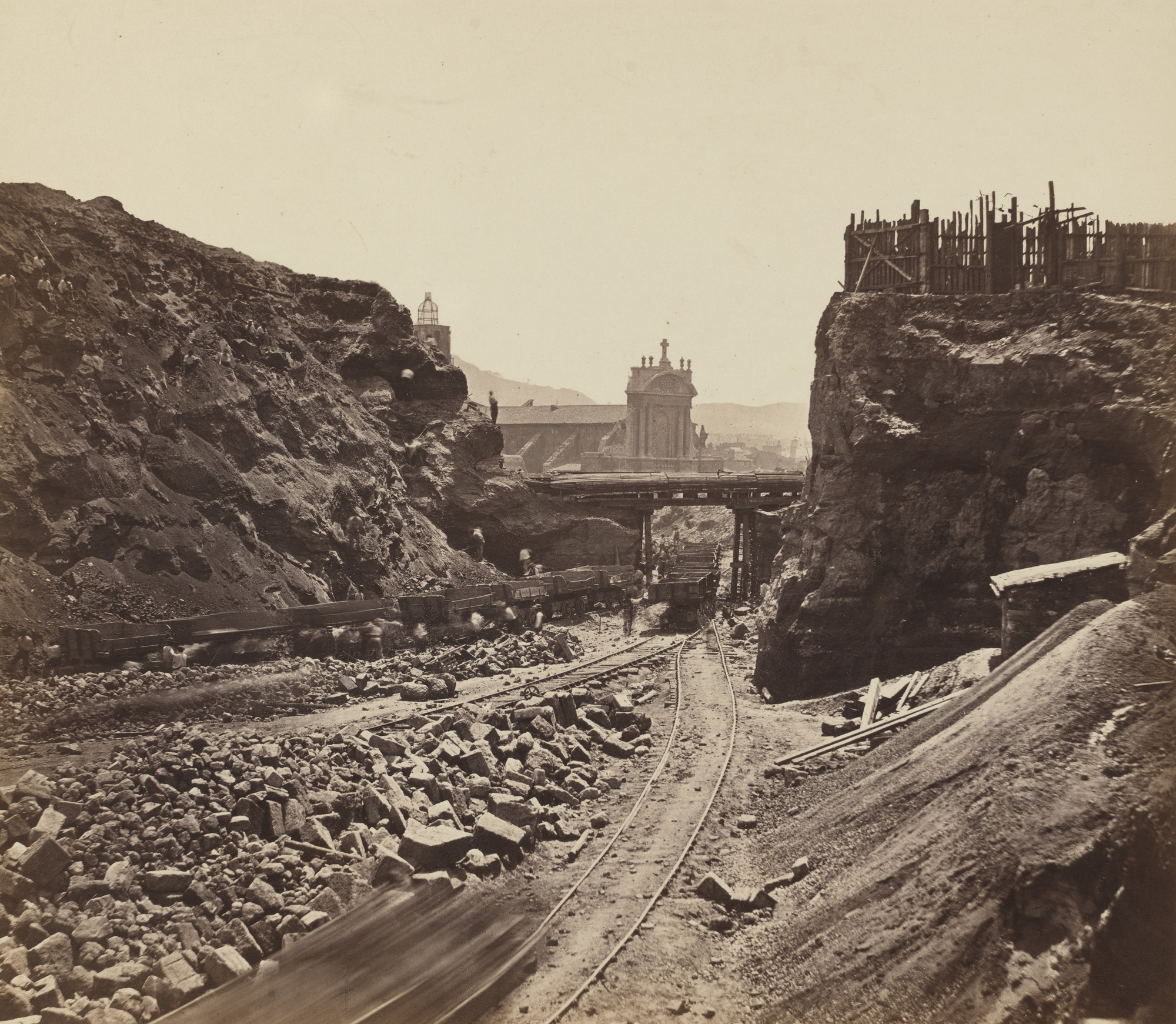 Adolphe Terris. Construction of Rue Impériale in Marseille. View of the Construction Site from the Middle of Rue Montbrion. 1863
