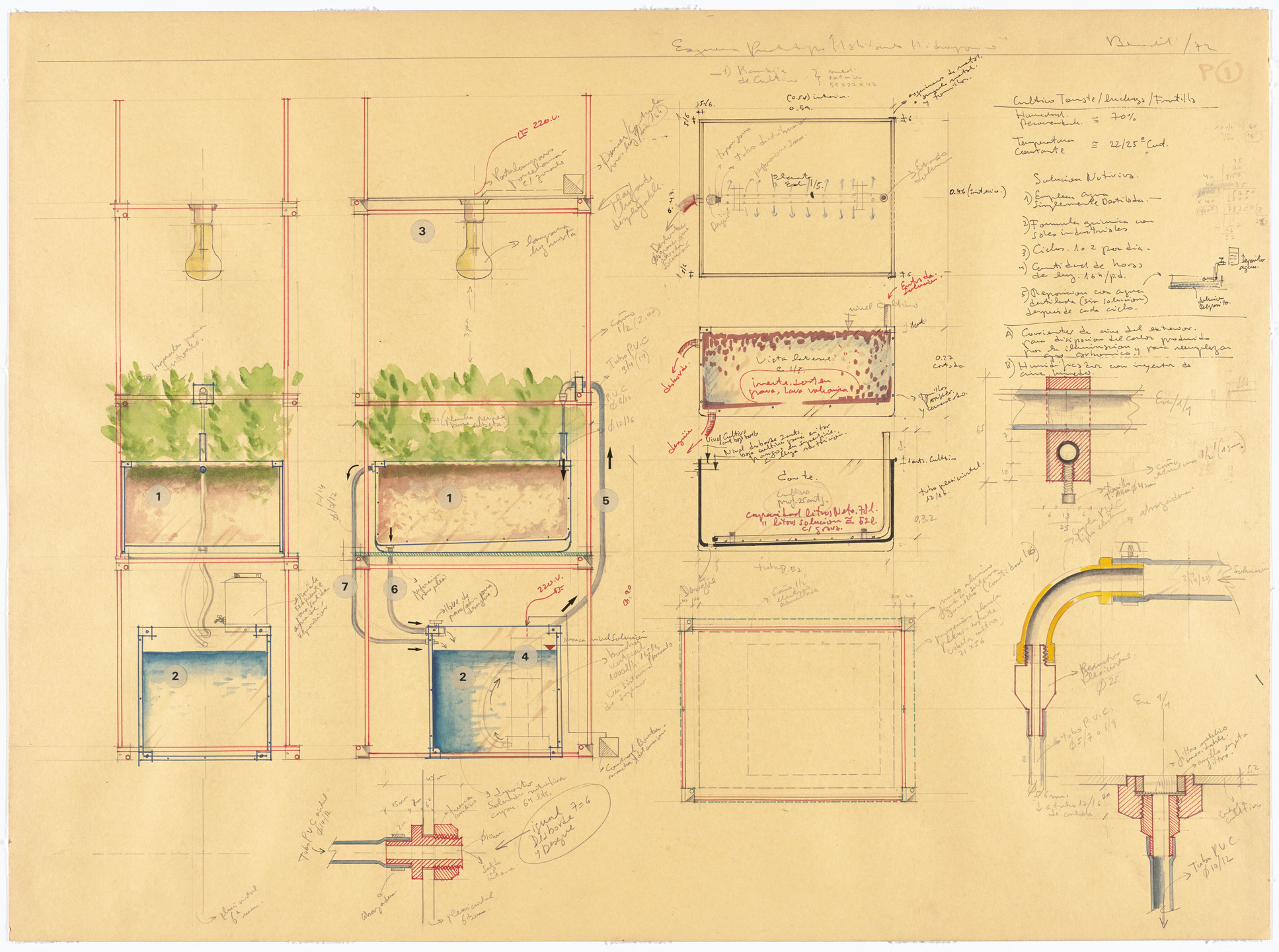 Luis Fernando Benedit. Drawing for Phytotron: Hydroponic Environment for Plants. 1972