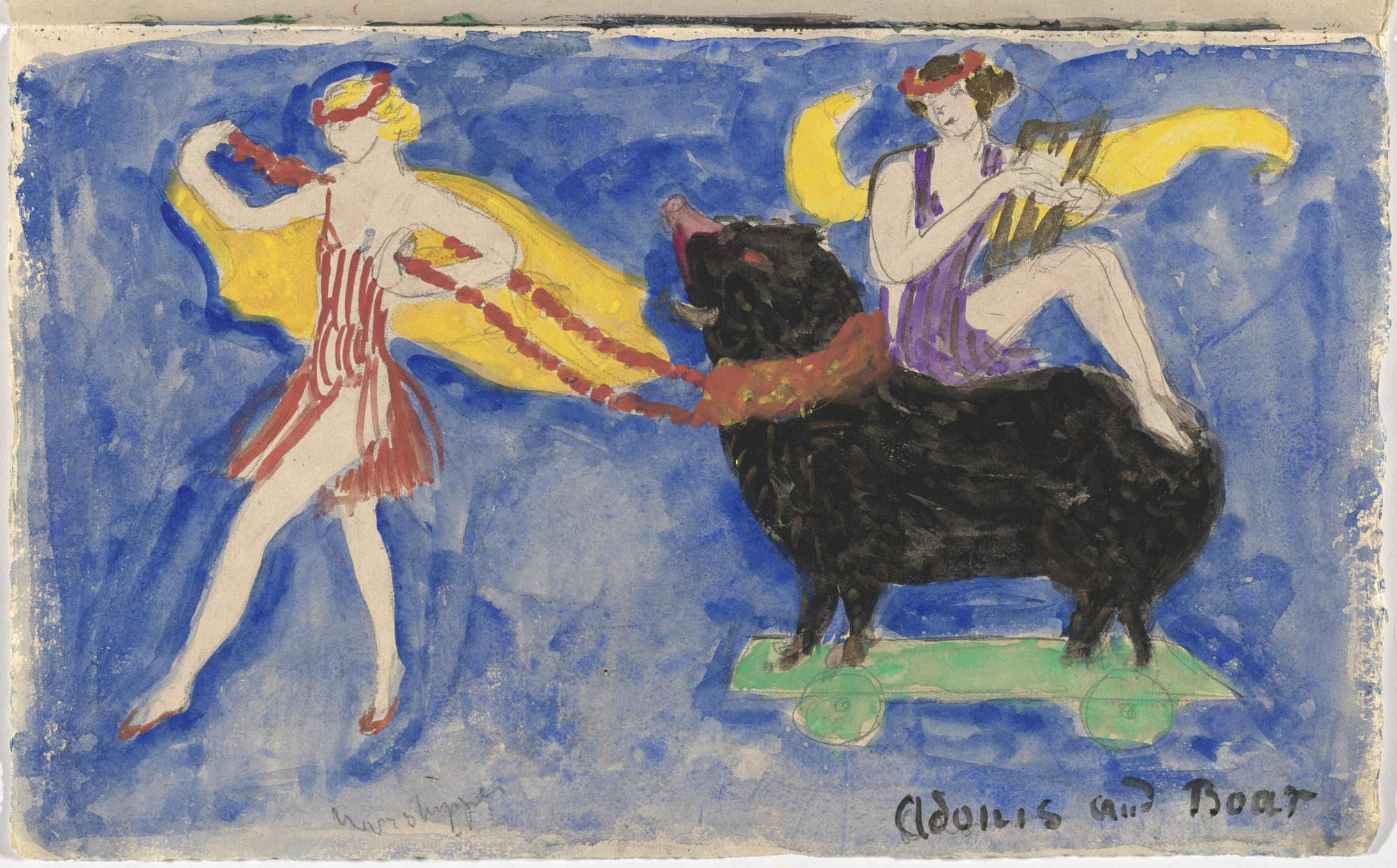 Florine Stettheimer. Costume design (Adonis and Boar) for artist's ballet Orphée of the Quat-z-arts. c. 1912