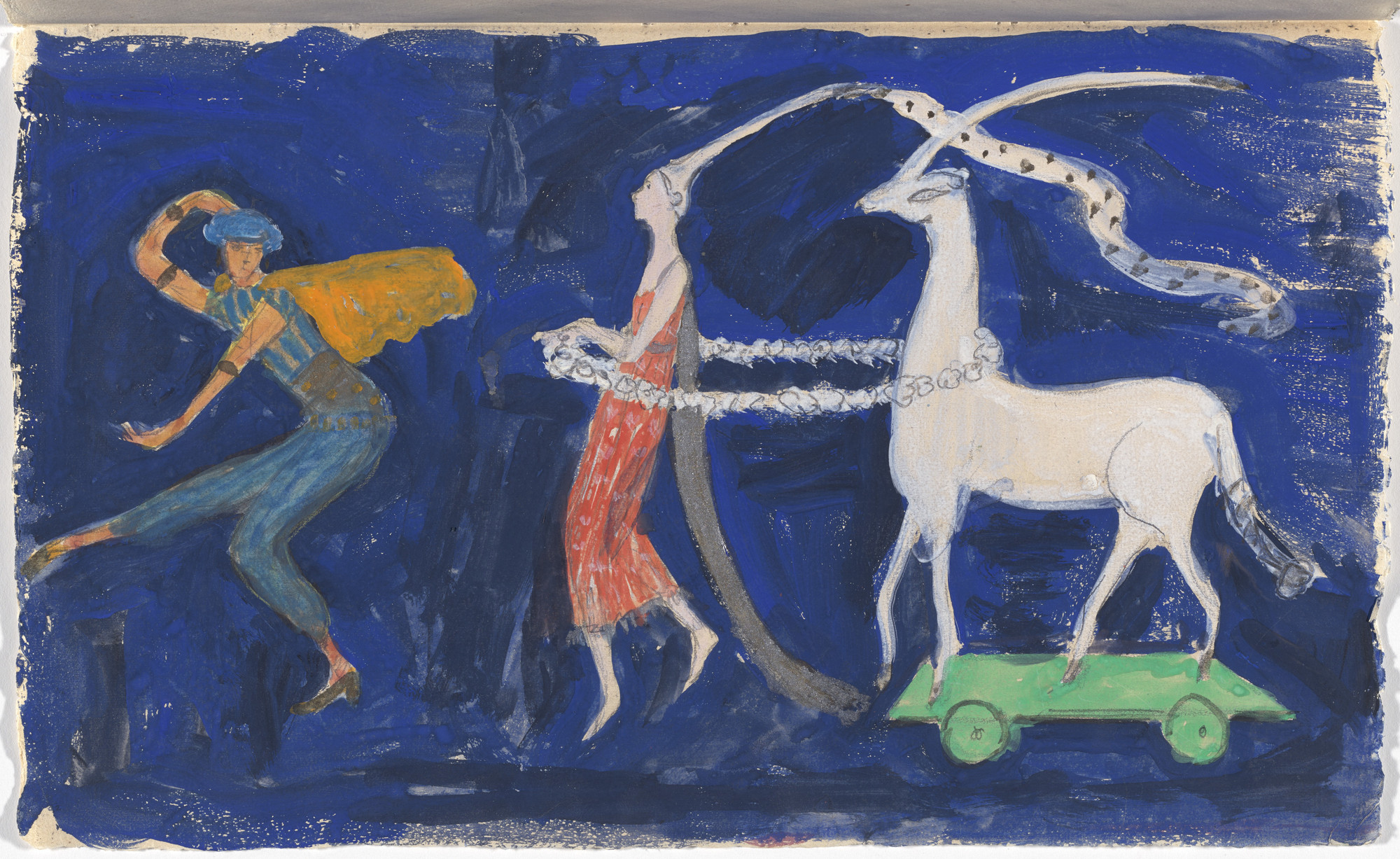 Florine Stettheimer. Costume design (Procession: Zizim of Persia, Agnes de Bourganeuf, and the Unicorn) for artist's ballet Orphée of the Quat-z-arts. c. 1912