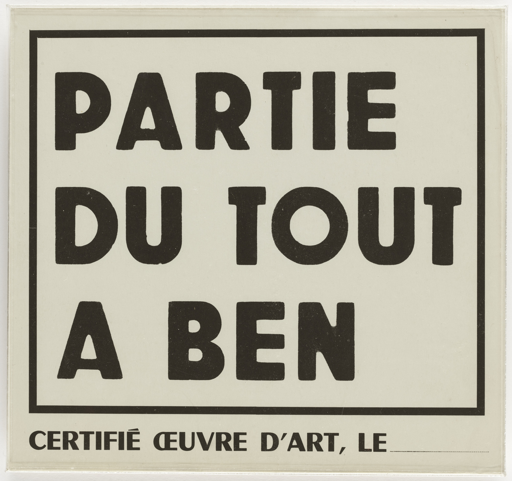 Ben Vautier. Certificate for Festival of Total Art and Comportment, Nice, July 27, 1963. 1963