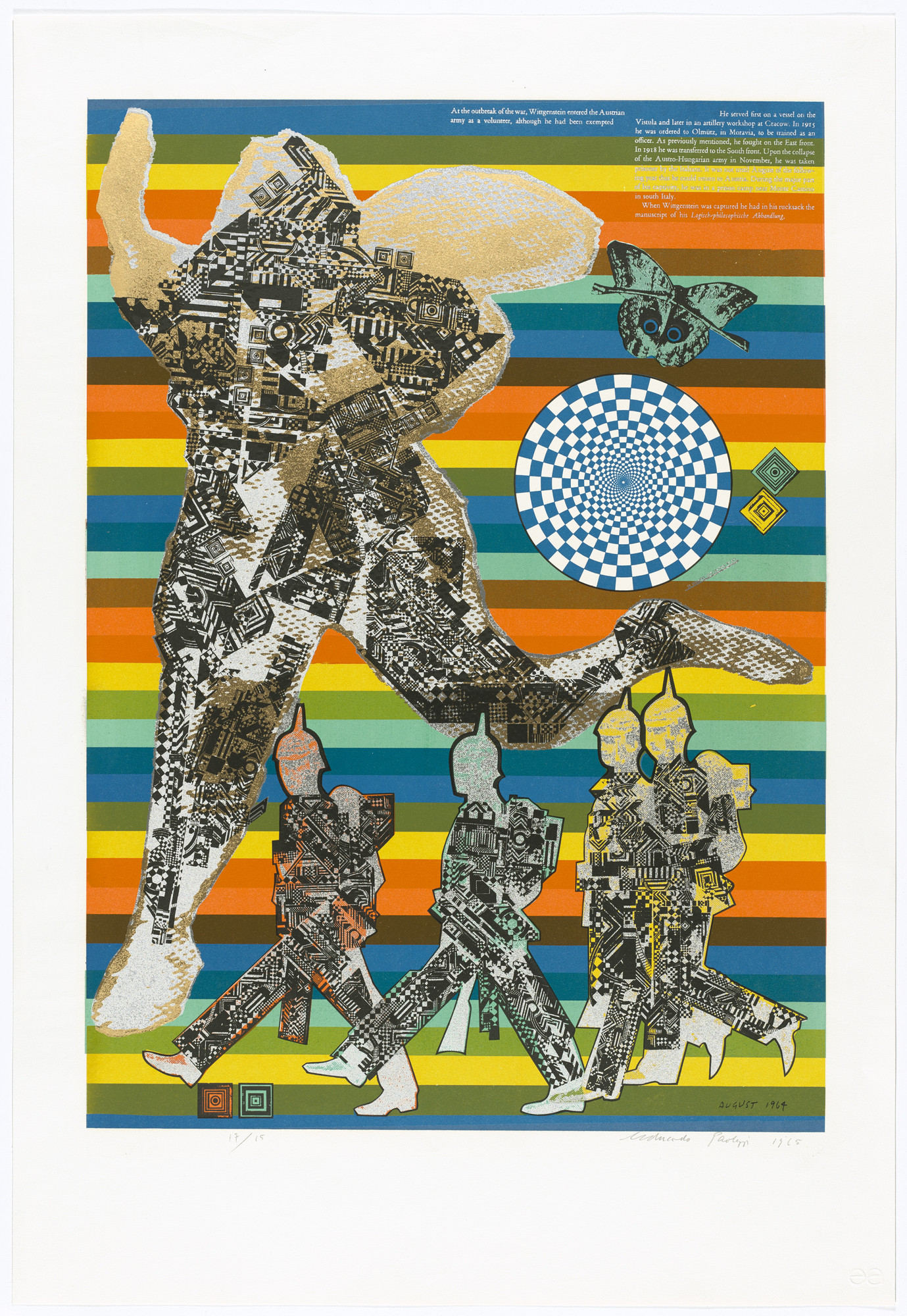 Eduardo Paolozzi. Wittgenstein as Soldier (plate, folio 8) from As Is When. 1965