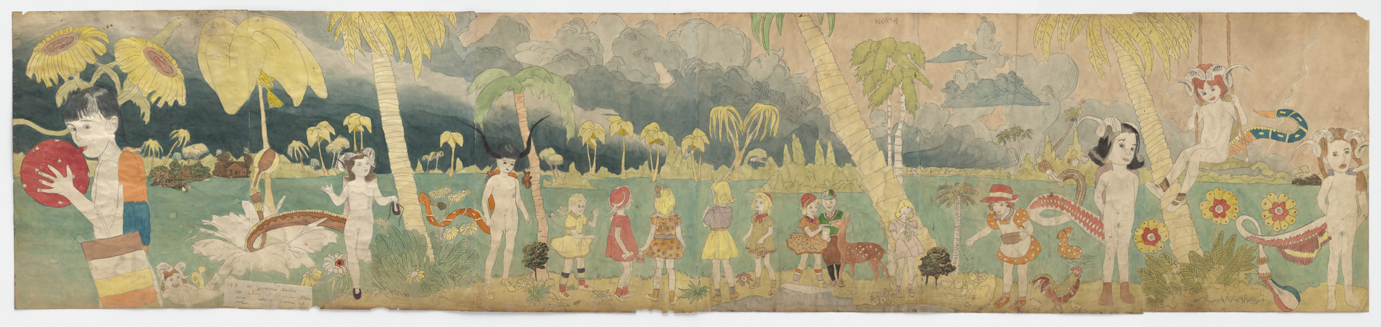 Henry Darger. a) At Jennie Richee At shore of Aronburg Run River...  b) Untitled (Girl swinging on vine). (n.d.)