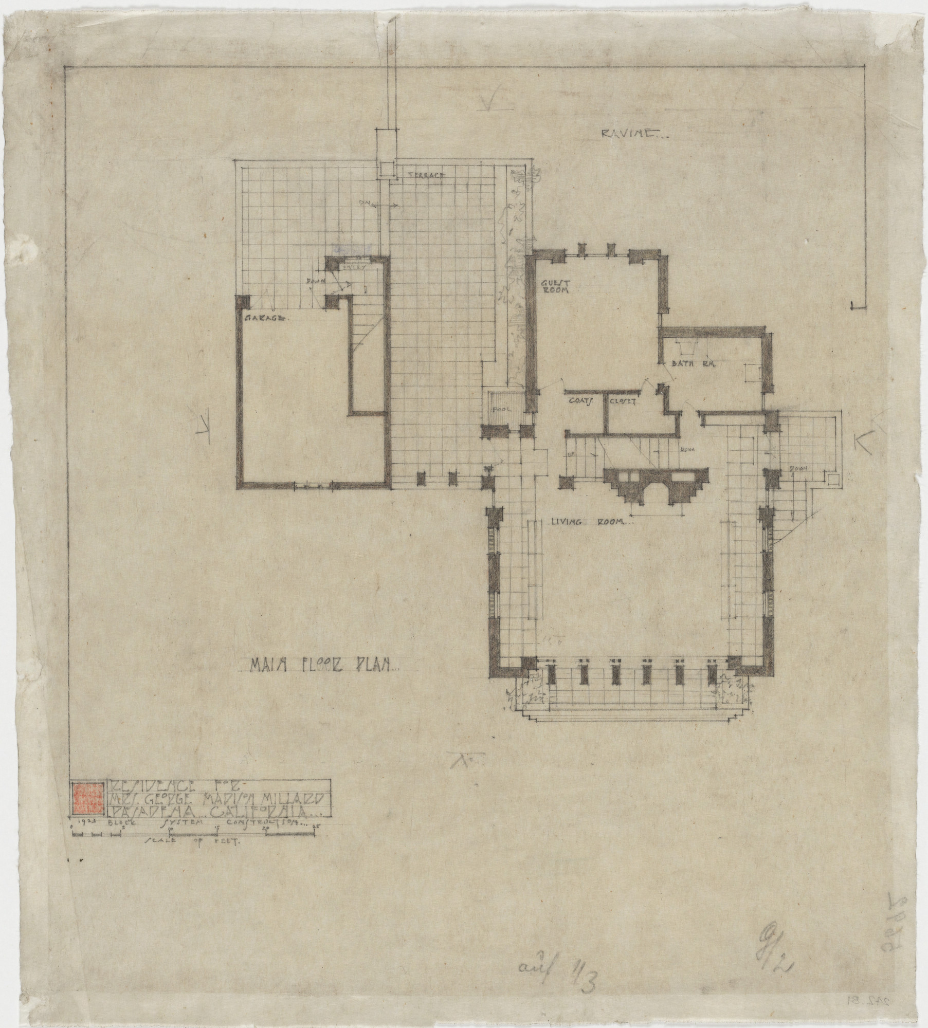 Frank Lloyd Wright. La Miniatura, Mrs. George Madison ... on frank lloyd wright home floor plans, cantilever plans, castle plans, frank lloyd wright furniture plans, wright house drawings, frank lloyd wright building plans, wright medical, frank lloyd wright site plans, frank lloyd wright inspired home plans, blueprints for houses with open floor plans, wright style home plans,