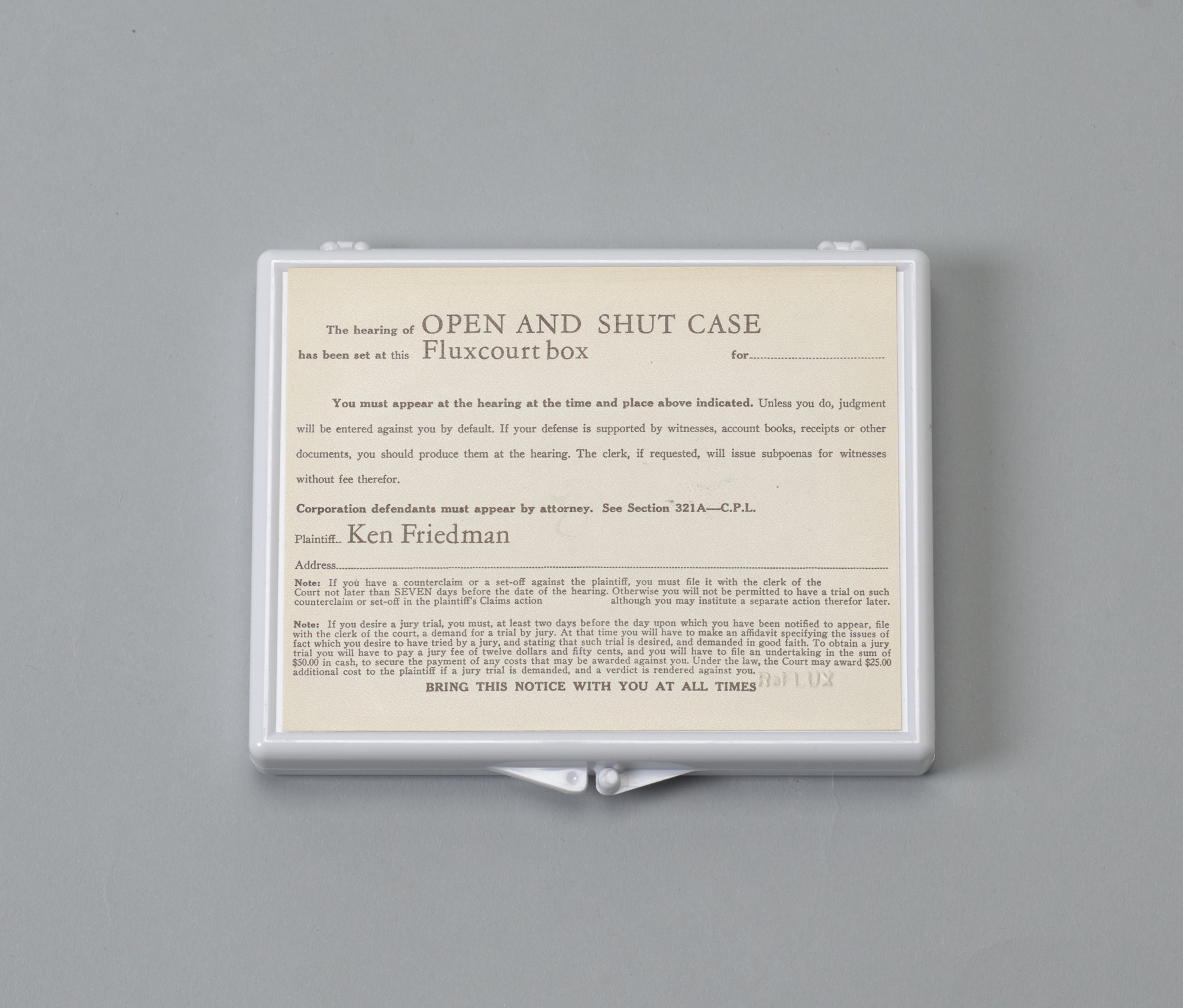 Ken Friedman. Open and Shut Case. 1987