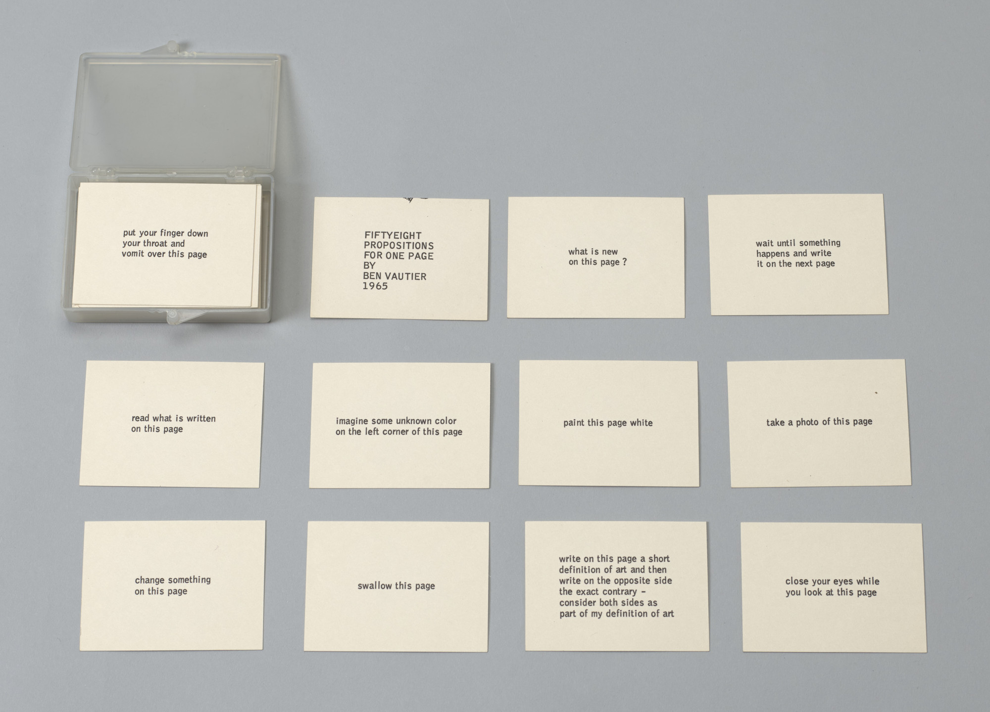 Ben Vautier. Fifty-Eight Propositions for One Page. 1965