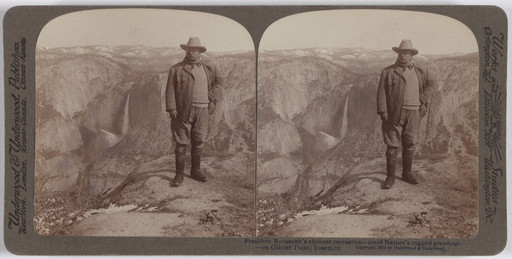 Underwood and Underwood. President Roosevelt's Choicest Recreation—Amid Nature's Rugged Grandeur—on Glacier Point, Yosemite. 1903