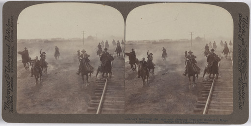 Underwood and Underwood. Cowboys Following the Train and Cheering President Roosevelt, Hugo, Colorado. 1903