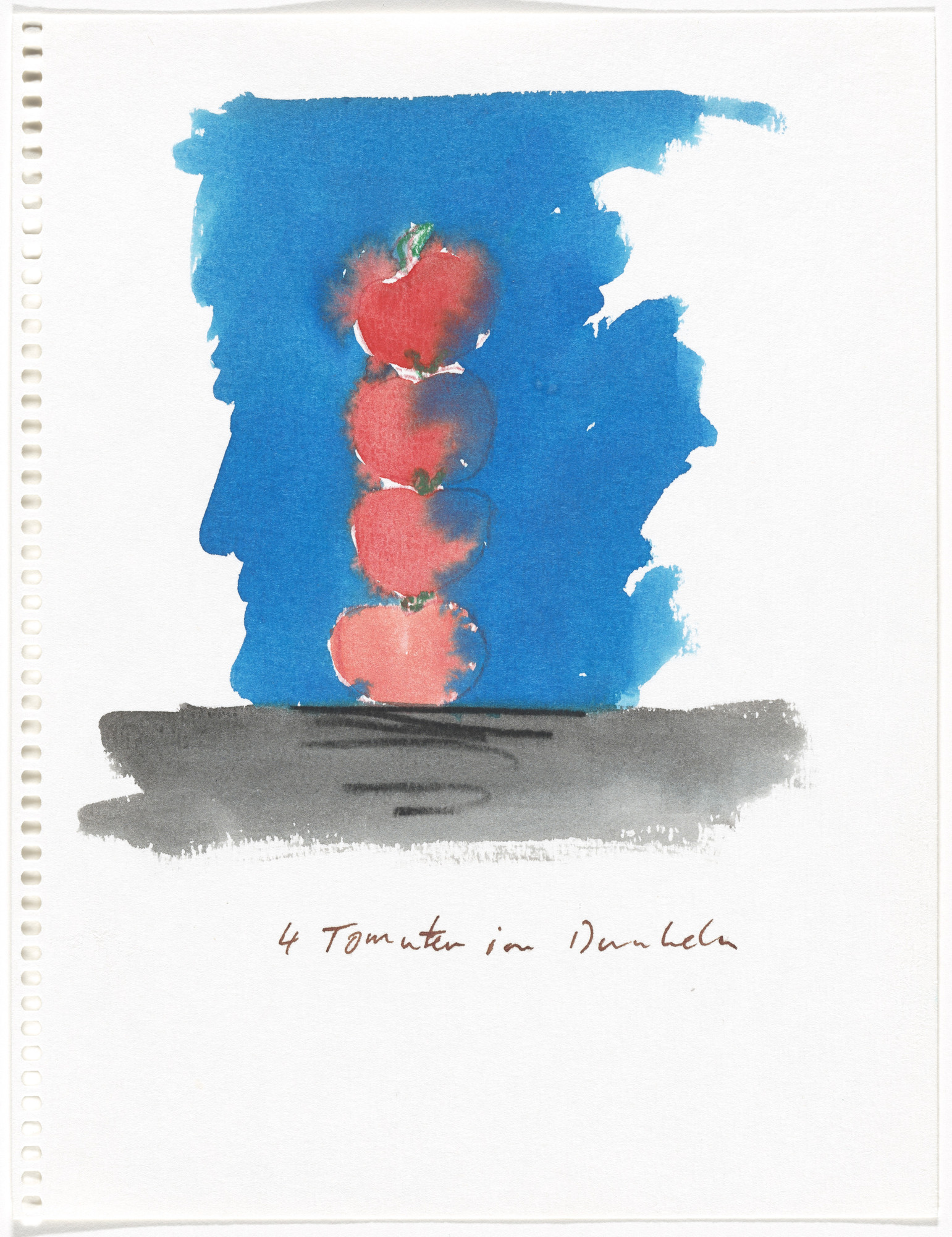 Thomas Schütte. 4 Tomaten im Dunkeln (4 Tomatoes in the Dark) from Aquarellen (Watercolors). 1987