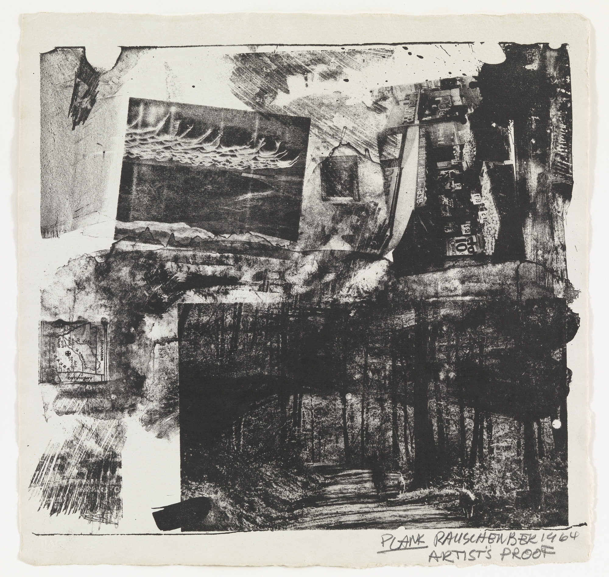 Robert Rauschenberg. Plank, supplementary plate for the deluxe edition of the illustrated book, Rauschenberg: XXXIV Drawings for Dante's Inferno. 1964