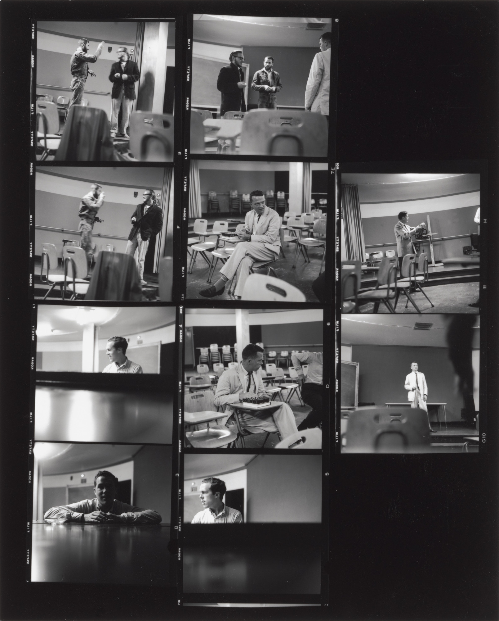 Fred W. McDarrah. Contact sheet of John Cage's class at the New School for Social Research, New York. 1959