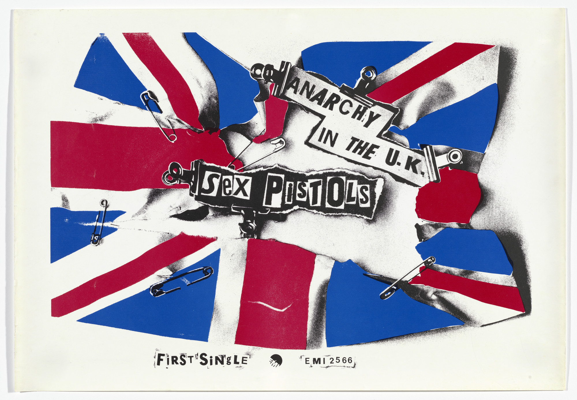 Jamie Reid. Sex Pistols, Anarchy in the UK. 1976
