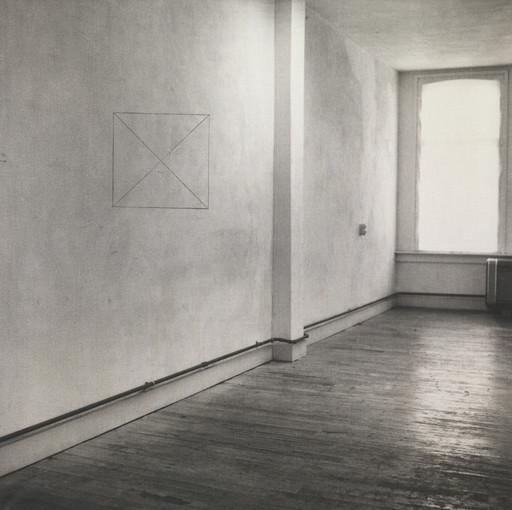 Jan Dibbets. Perspective Correction, My Studio I, 2: Square with 2 Diagonals on Wall. 1969