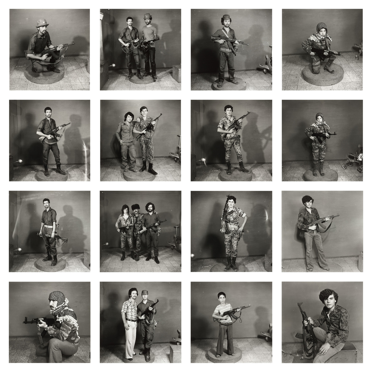 Akram Zaatari. After They Got the Right to Arms. Fourteen young men posing with guns.. early 1970s/2006