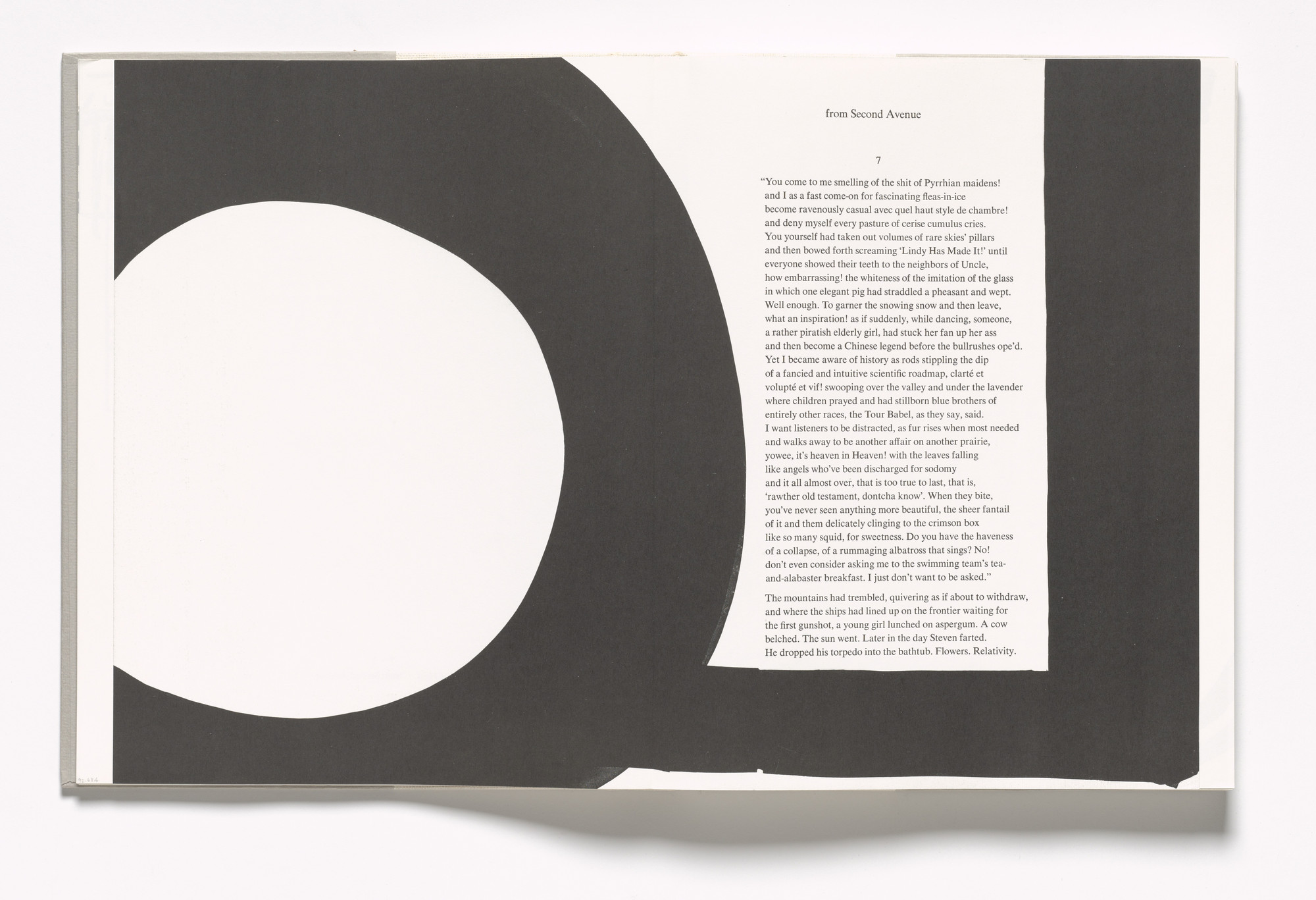Al Held. In-text plate (folios 19 verso and 20 recto) from In Memory of My Feelings. 1967