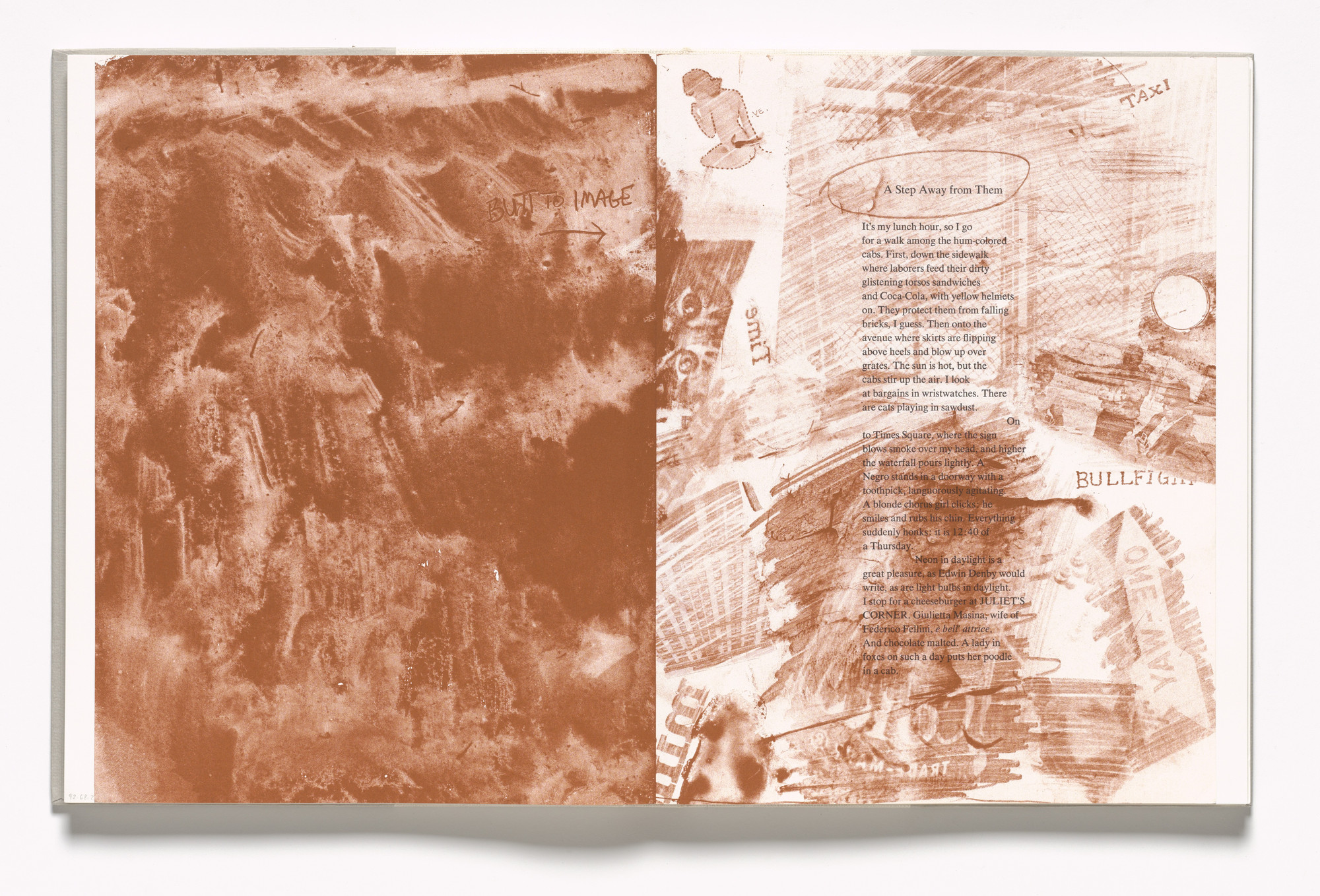 Robert Rauschenberg. In-text plate (folios 55 verso and 56 recto) from In Memory of My Feelings. 1967
