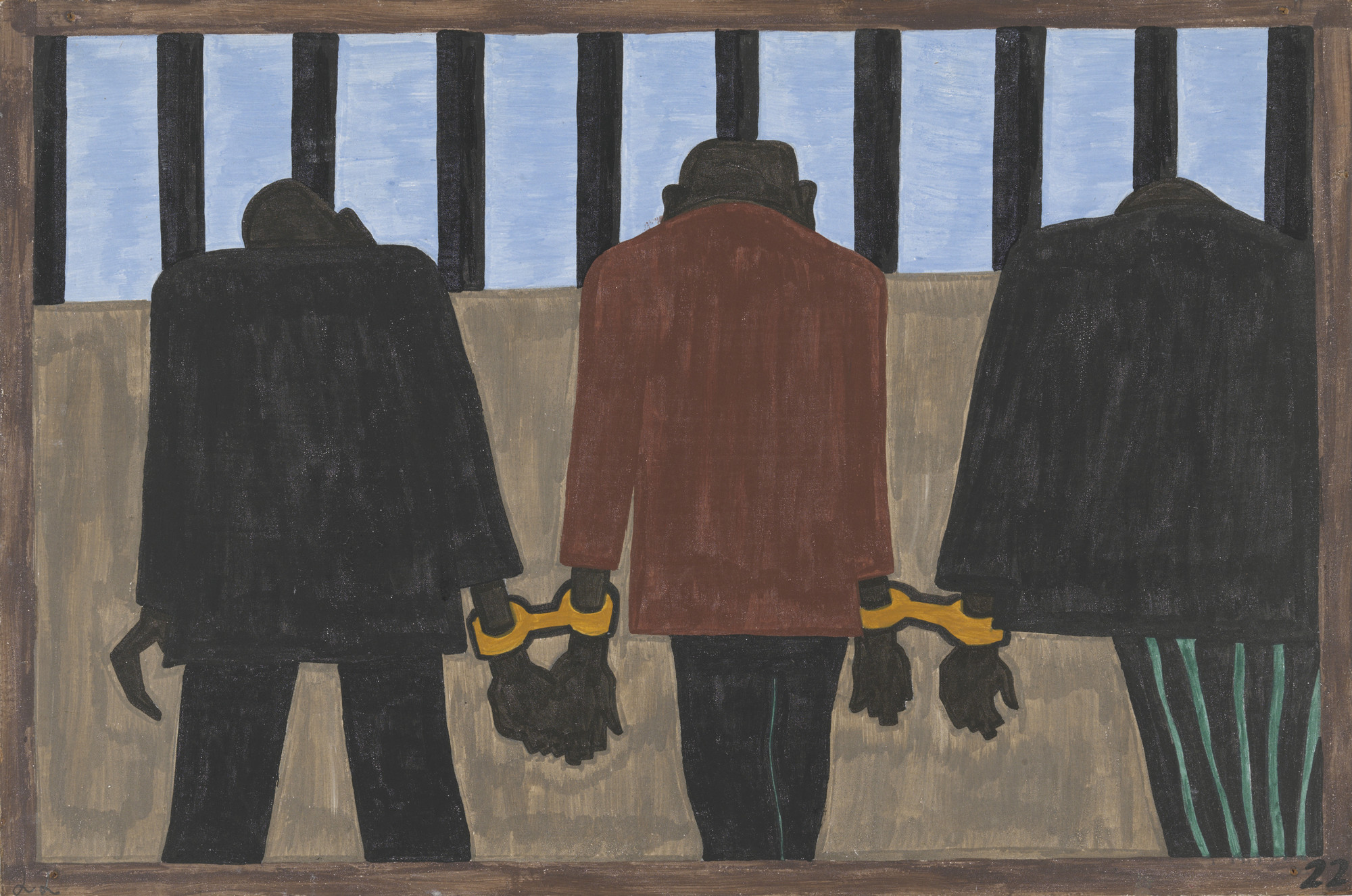 Jacob Lawrence. Another of the social causes of the migrants' leaving was that at times they did not feel safe, or it was not the best thing to be found on the streets late at night. They were arrested on the slightest provocation. 1940-41