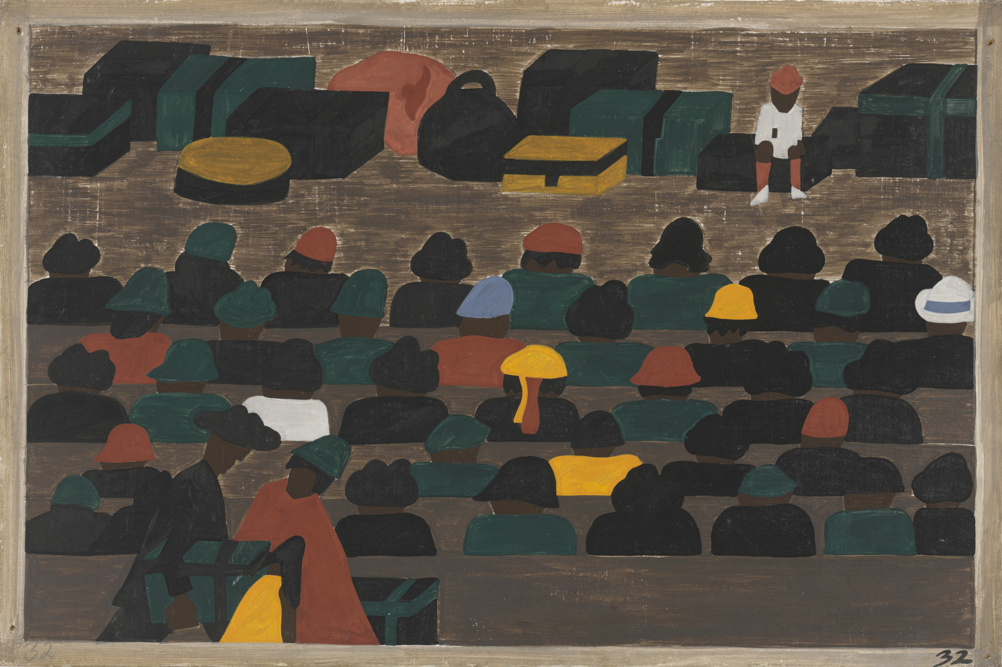 Jacob Lawrence. The railroad stations in the South were crowded with people leaving for the North. 1940-41