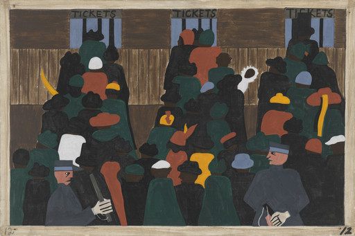 Jacob Lawrence. The railroad stations were at times so over-packed with people leaving that special guards had to be called in to keep order. 1940-41