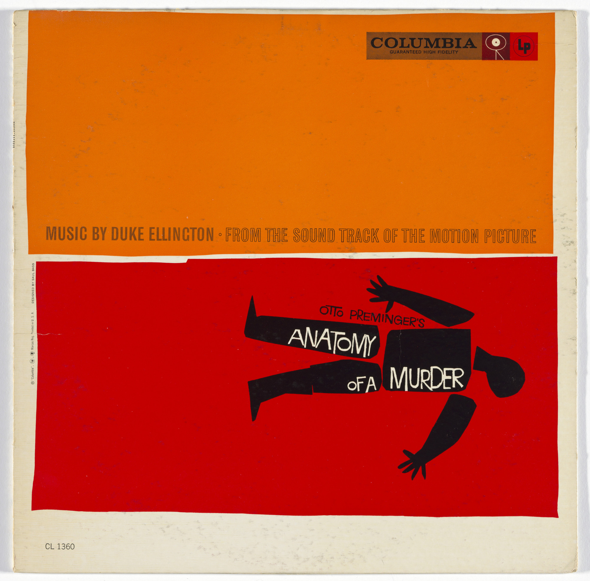 Saul Bass, Duke Ellington, Columbia Records. Album cover for Duke Ellington's music from the motion picture Anatomy of a Murder. 1959