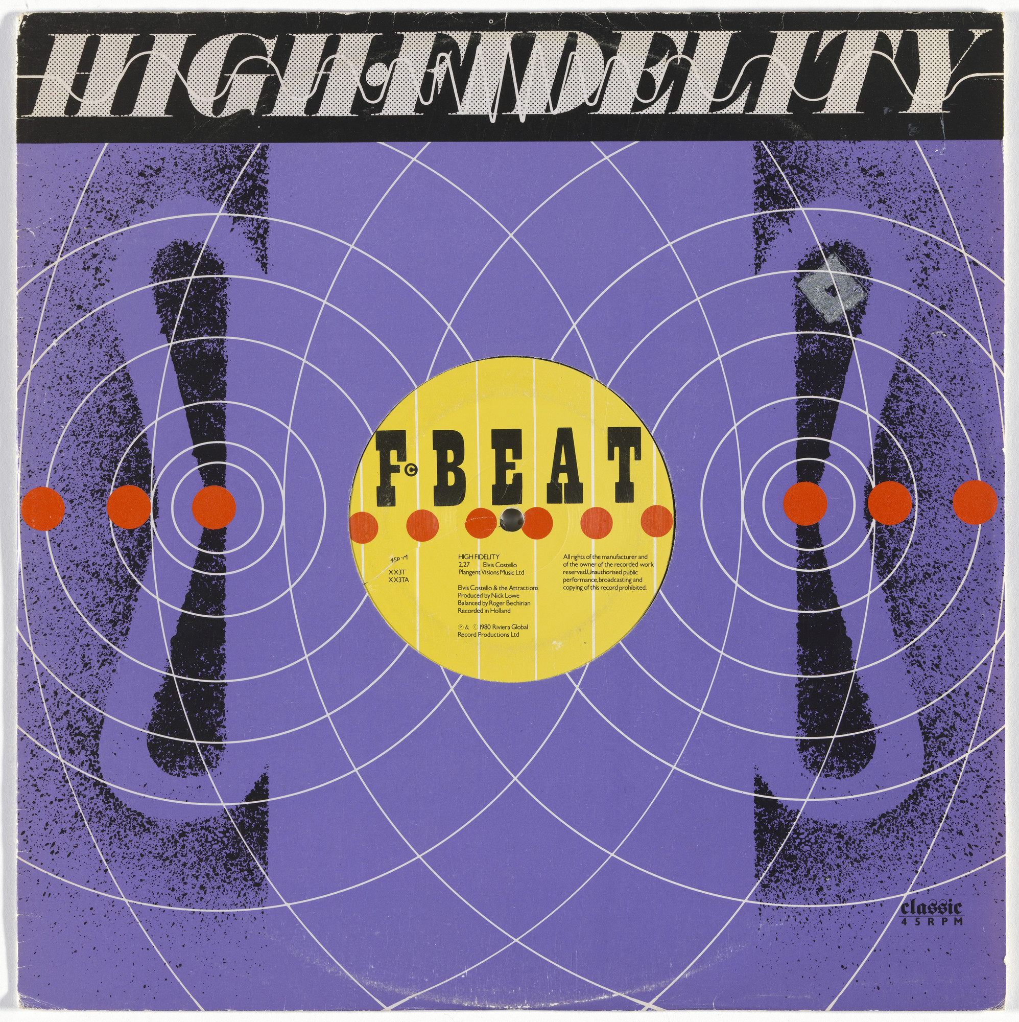 "Barney Bubbles (Colin Fulcher), F-Beat Records. Cover for Elvis Costello and the Attractions 12"" single ""High Fidelity"". 1980"