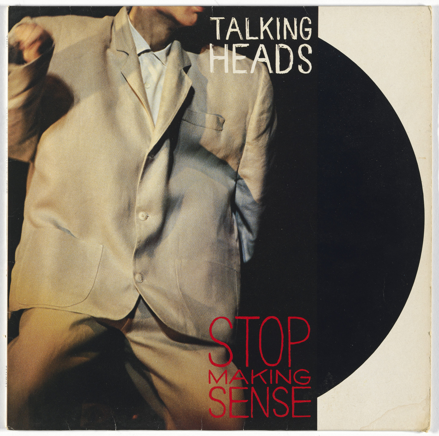 David Byrne, Michael Hodgson, Jeff Ayeroff, Adelle Lutz, Sire Records. Album cover for Talking Heads, Stop Making Sense. 1984