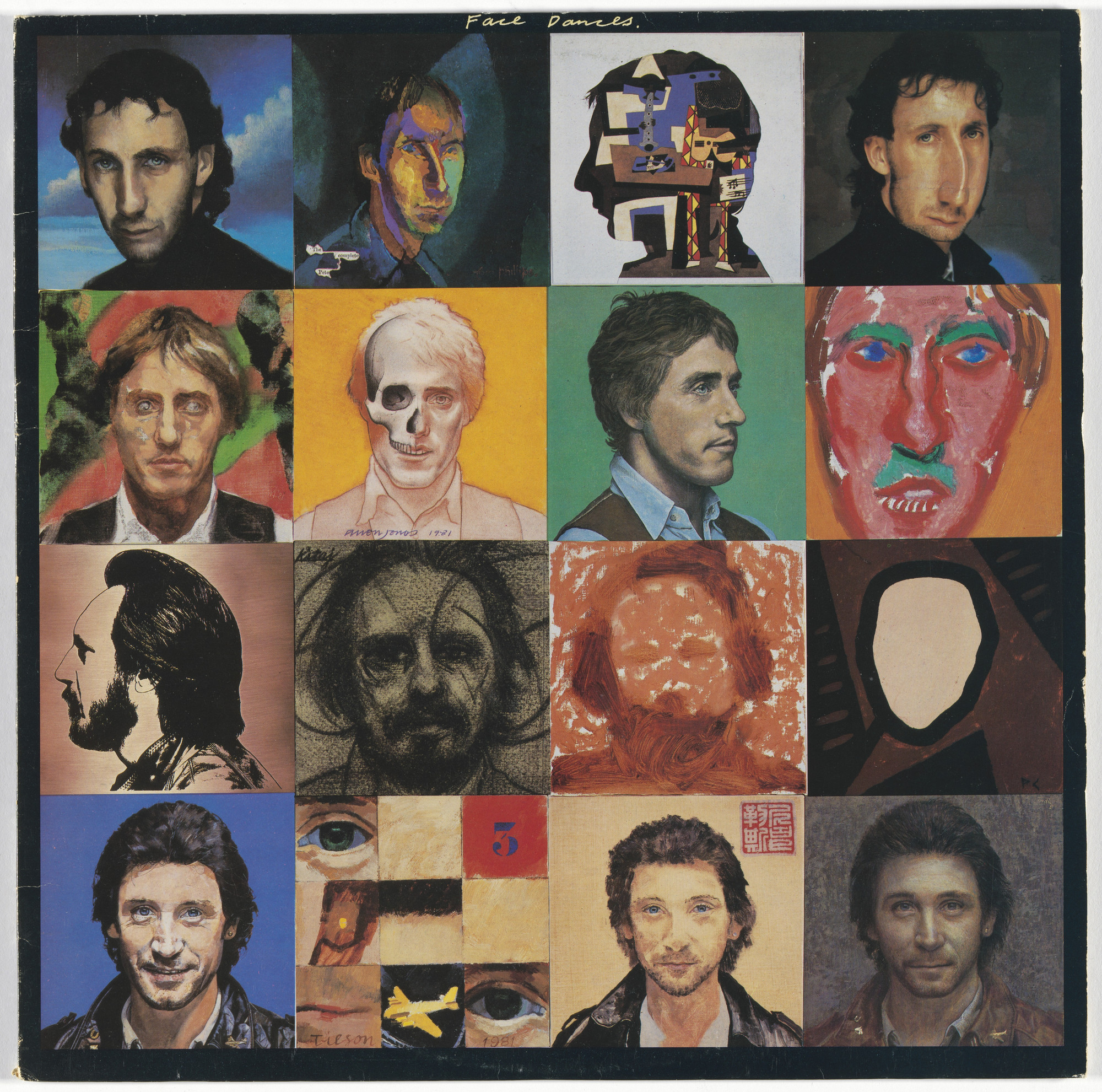 Peter Blake, Richard Evans, Clive Barker, Brian Aris, Gavin Cochrane, Warner Bros. Records, Bill Jacklin, Tom Phillips, Colin Self, Richard Hamilton, Michael Andrews, Allen Jones, David Inshaw, David Hockney, R. B. Kitaj, Howard Hodgkin, Patrick Caulfield, Joe Tilson, Patrick Procktor, David Tindle. Album cover for The Who, Face Dances. 1981