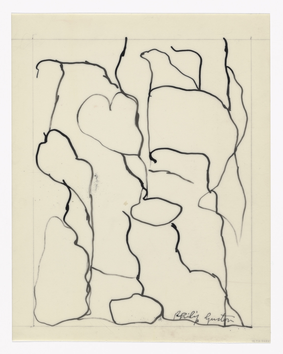 Philip Guston. Unused preparatory drawing for In Memory of My Feelings. 1967