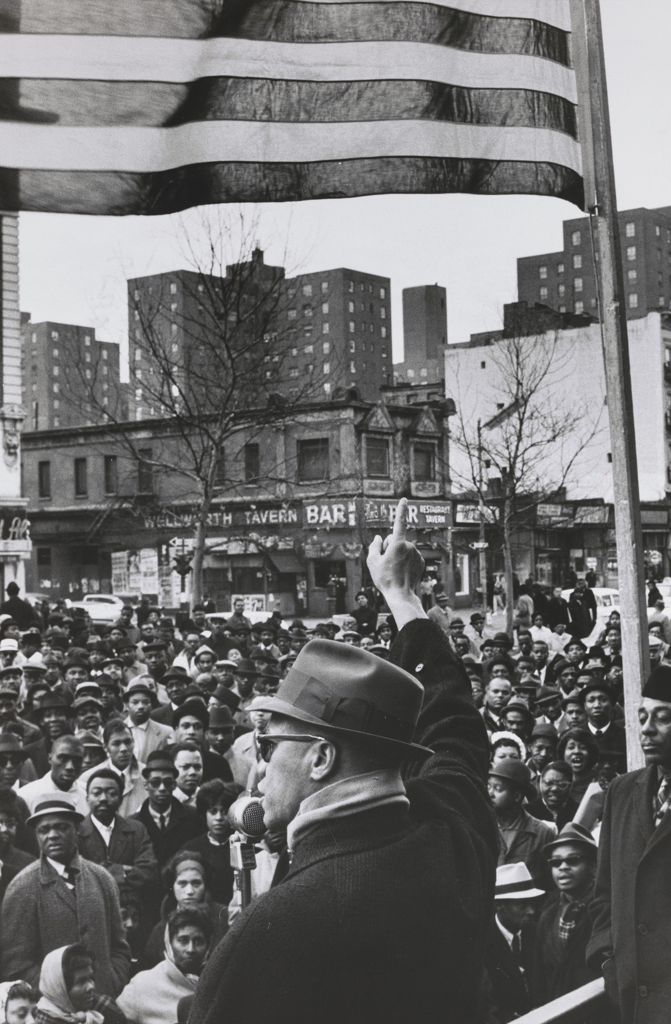 Gordon Parks. Malcolm X Gives Speech at Rally, Harlem, New York. 1963