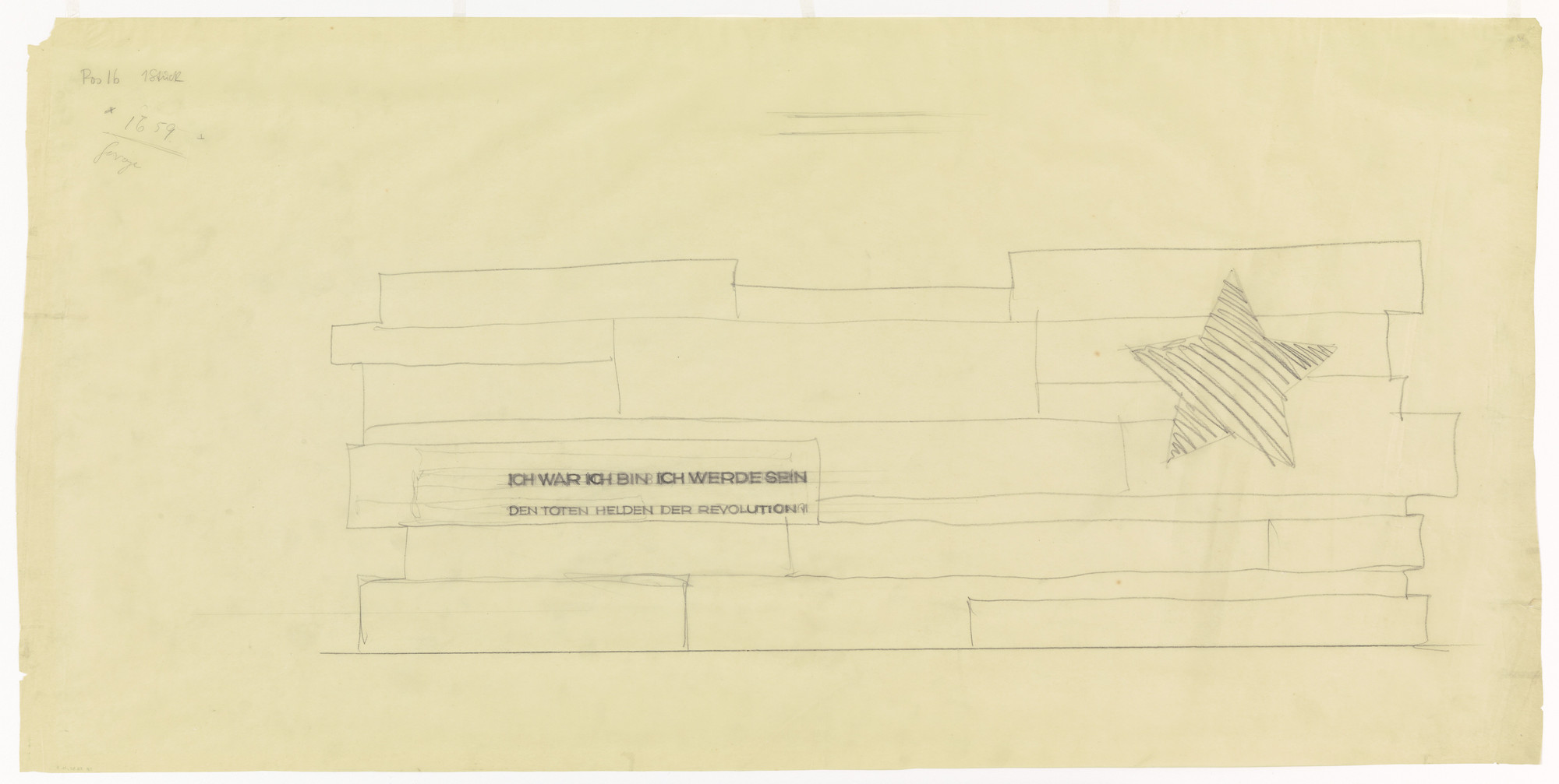 Ludwig Mies van der Rohe. Monument to the November Revolution, Berlin-Lichtenberg, Germany, Lettering study. 1926