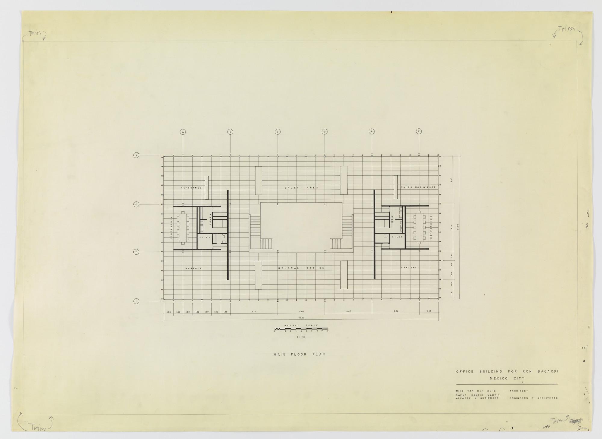 Ludwig Mies Van Der Rohe Ron Bacardí Y Compañía S A Administration Building Mexico City Mexico Main Floor Plan 1958 Moma