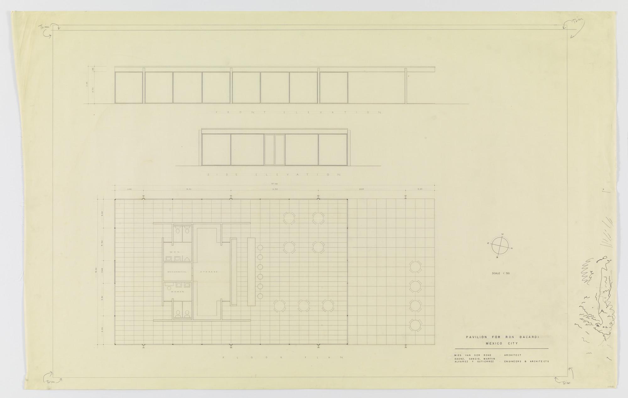 Ludwig Mies van der Rohe. Ron Bacardí y Compañía, S.A., Administration Building, Mexico City, Mexico (Floor plan, exterior elevations). 1958 | MoMA