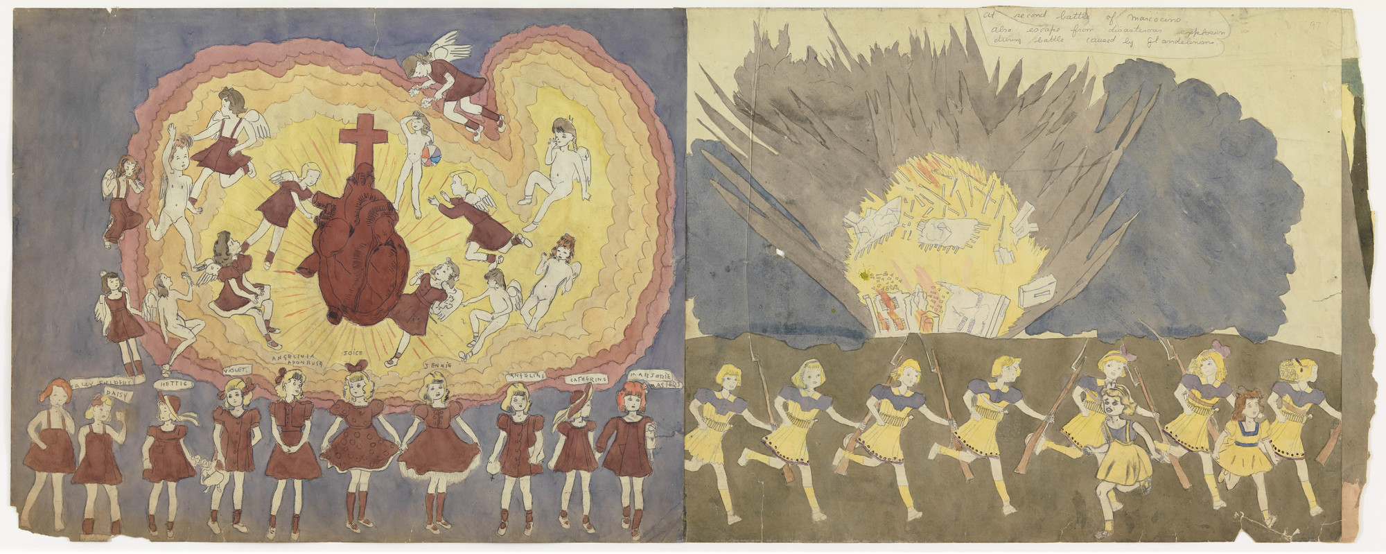 Henry Darger. a) The Vivian girls nuded like child slaves b) Untitled (Sacred Heart) and At second battle of Marcocino also escape from disasterous explosion during battle caused by glandelinians. (n.d.)